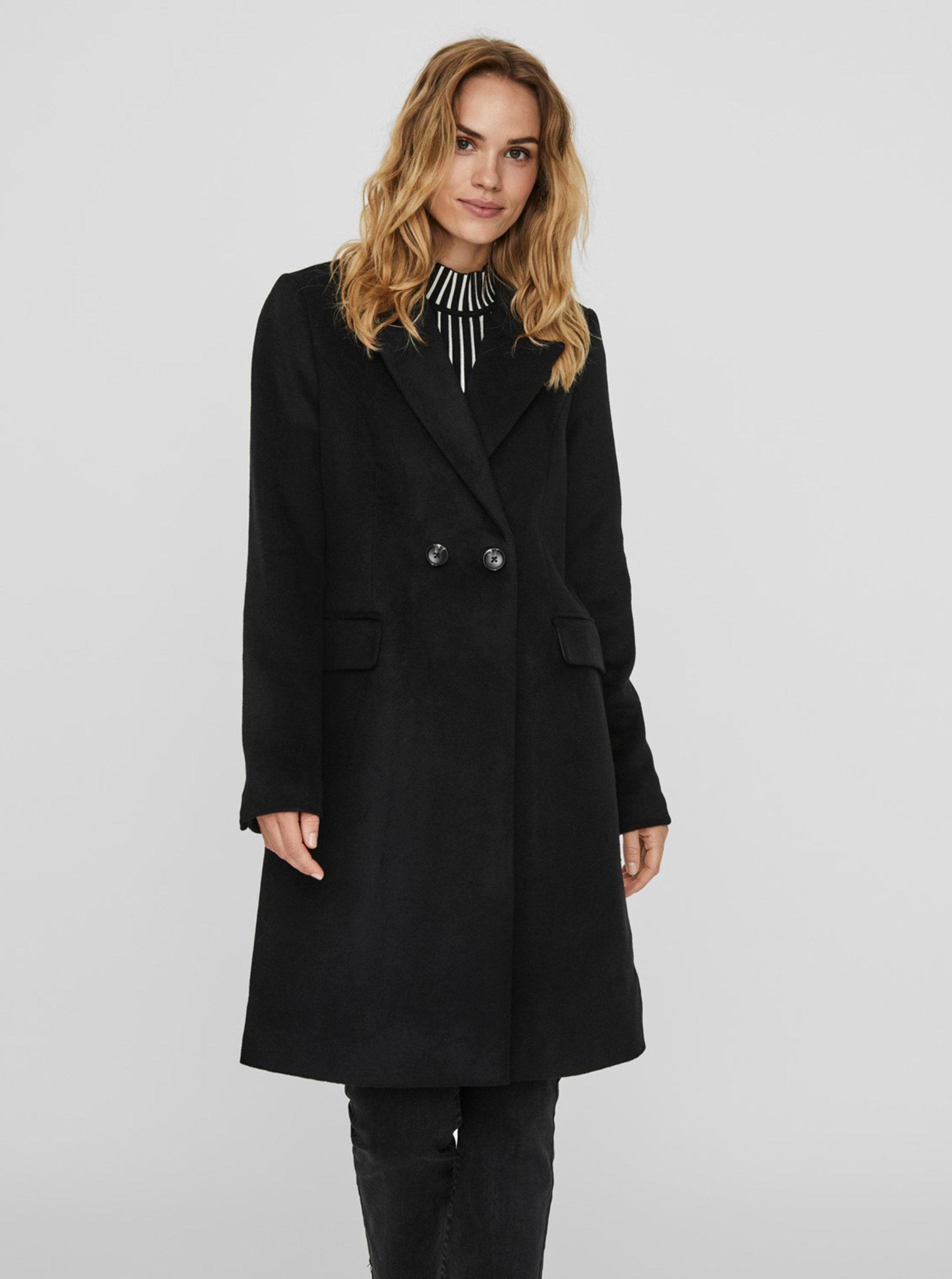 Fotografie Černý vlněný kabát VERO MODA Nora