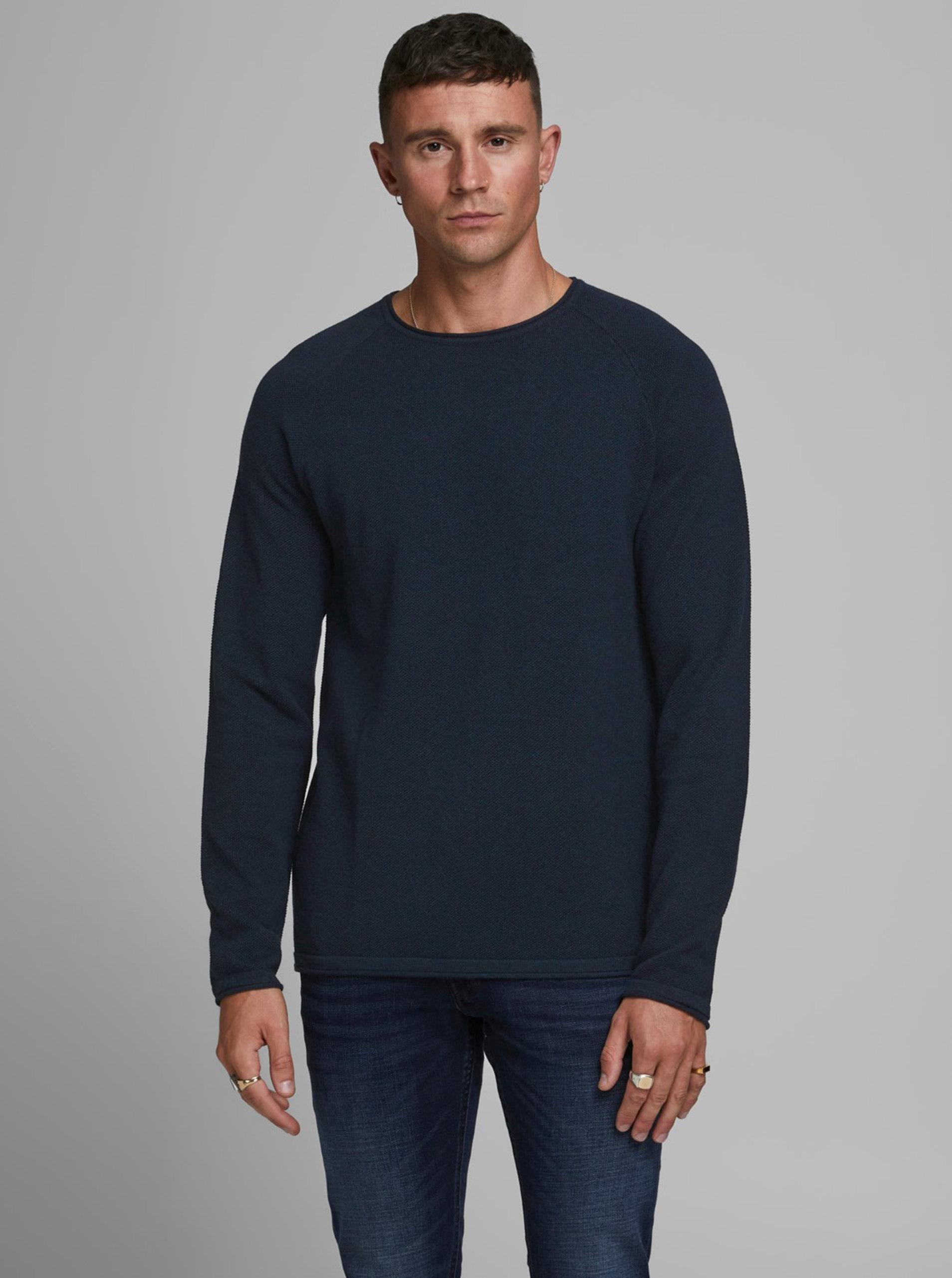 Tmavě modrý basic svetr Jack & Jones Ehill
