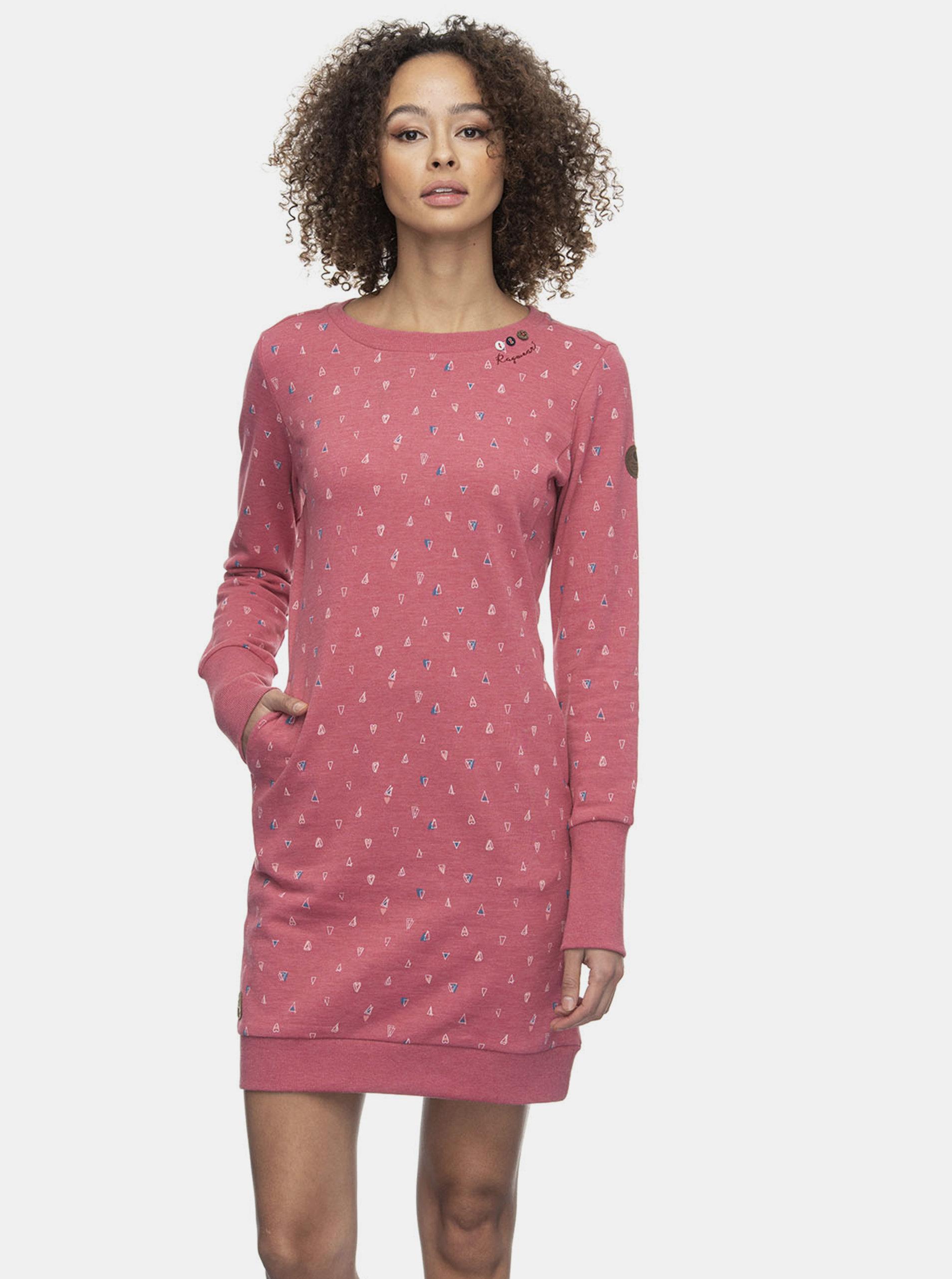 Růžové vzorované mikinové šaty Ragwear