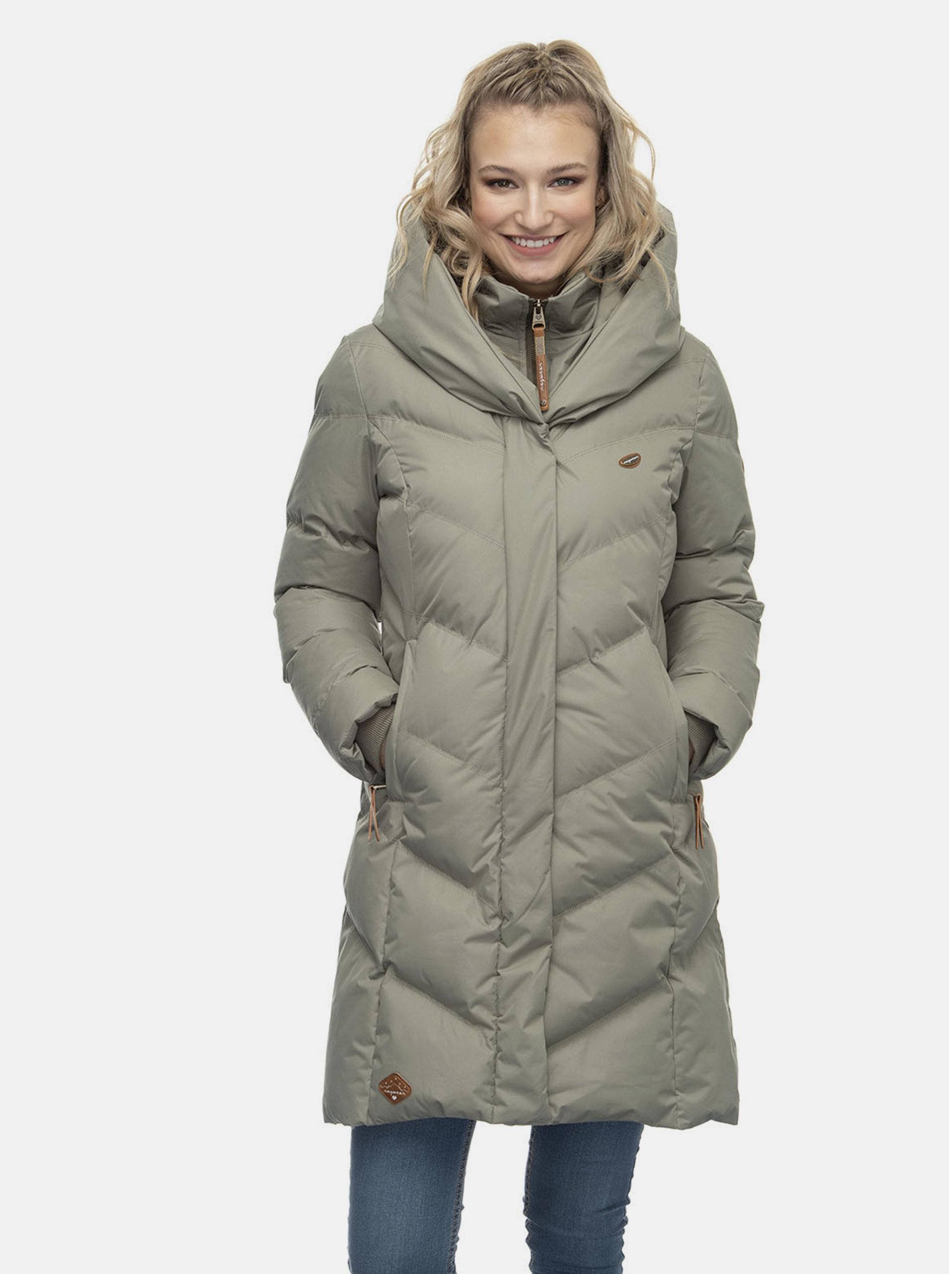 Khaki dámský prošívaný zimní kabát Ragwear