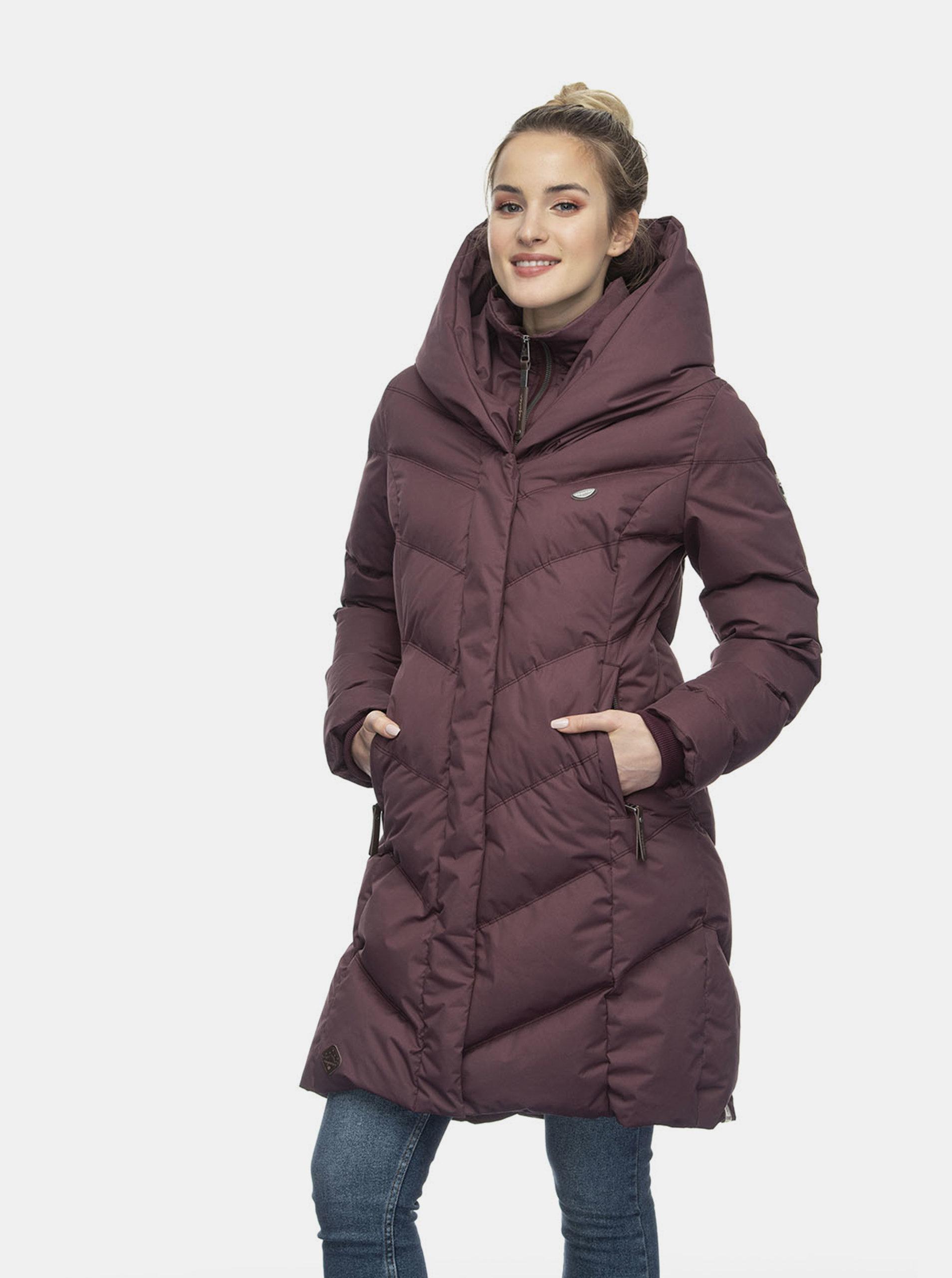 Vínový dámský prošívaný zimní kabát Ragwear