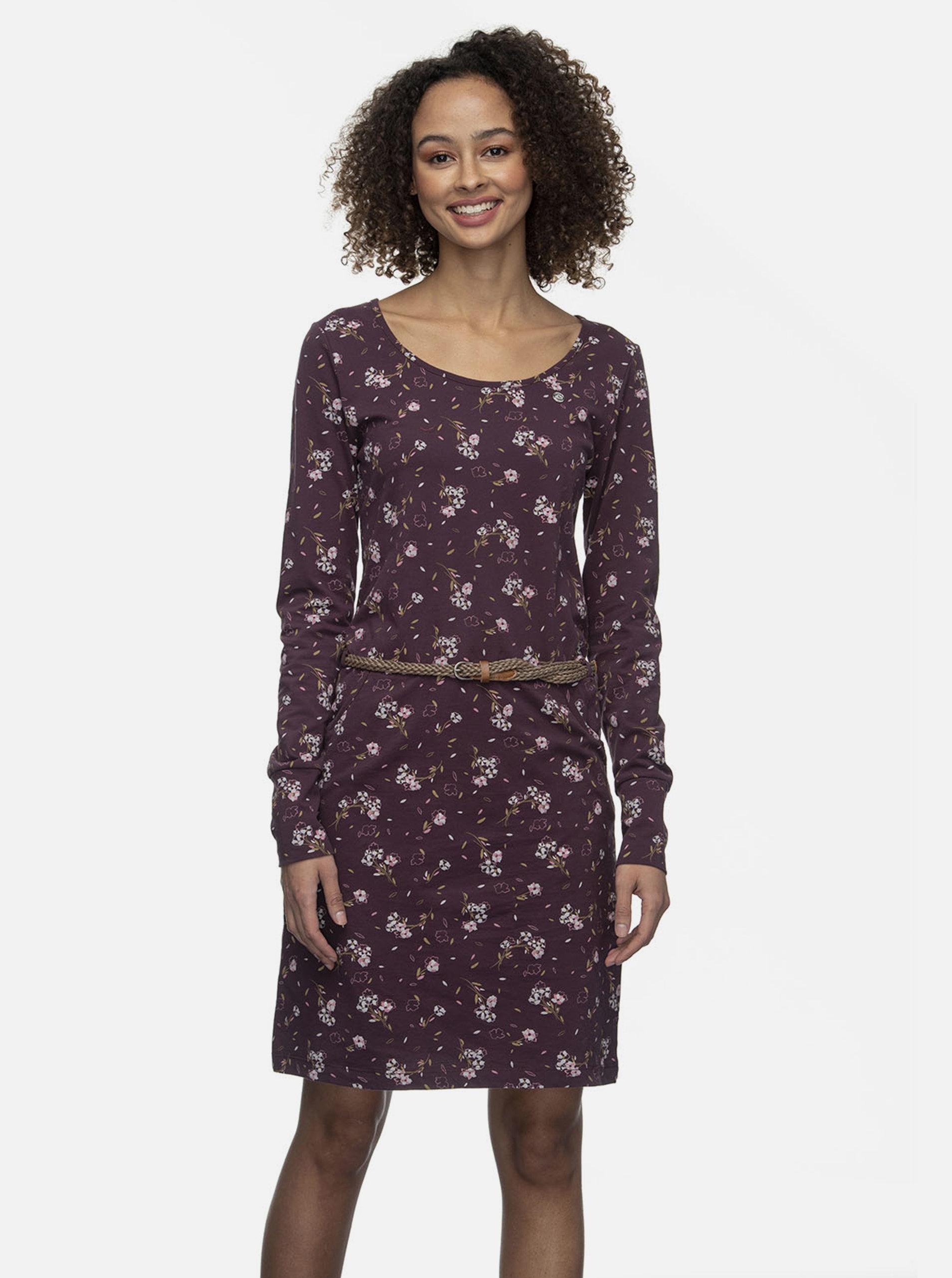 Vínové květované šaty Ragwear