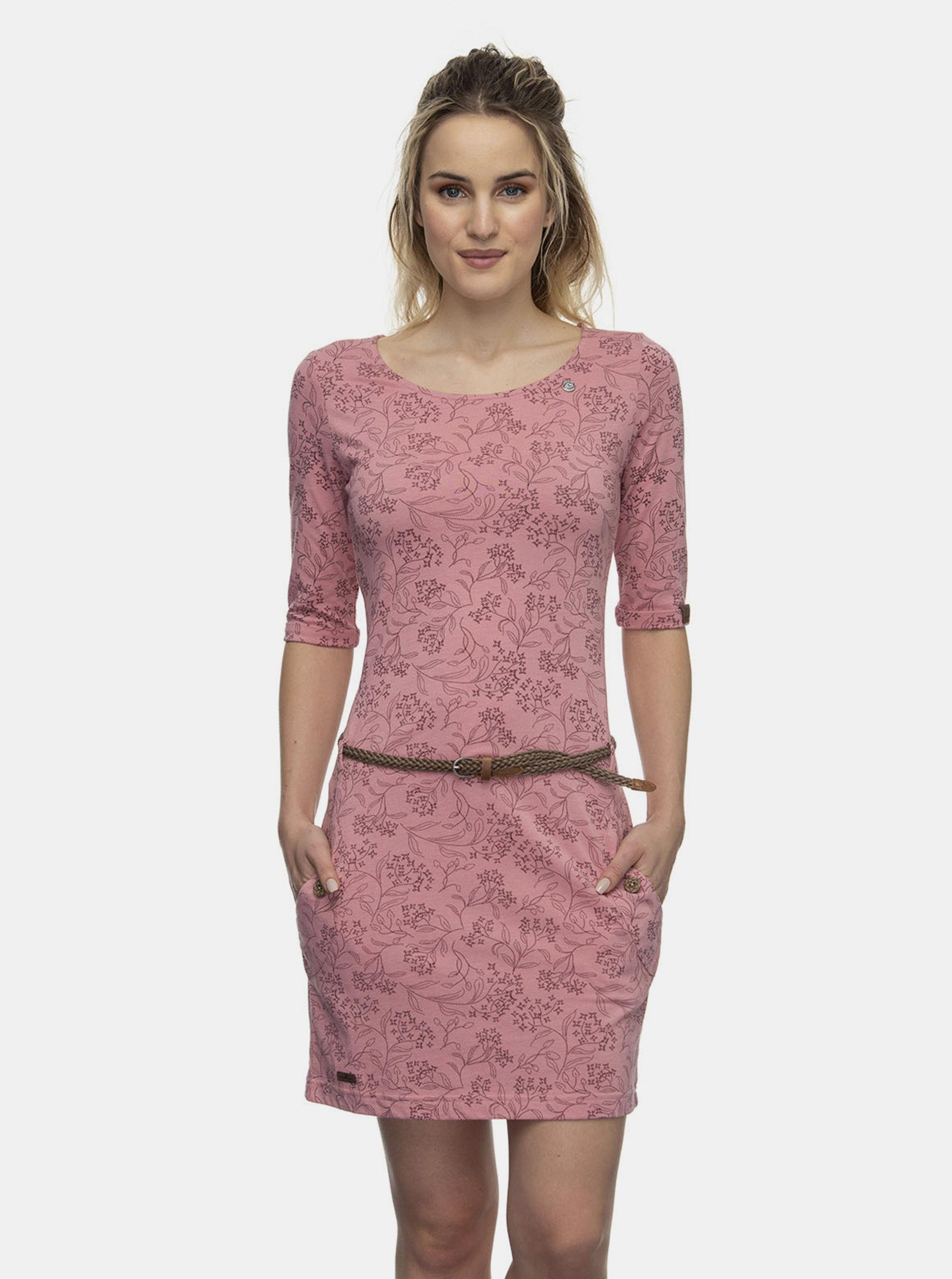Růžové květované šaty Ragwear