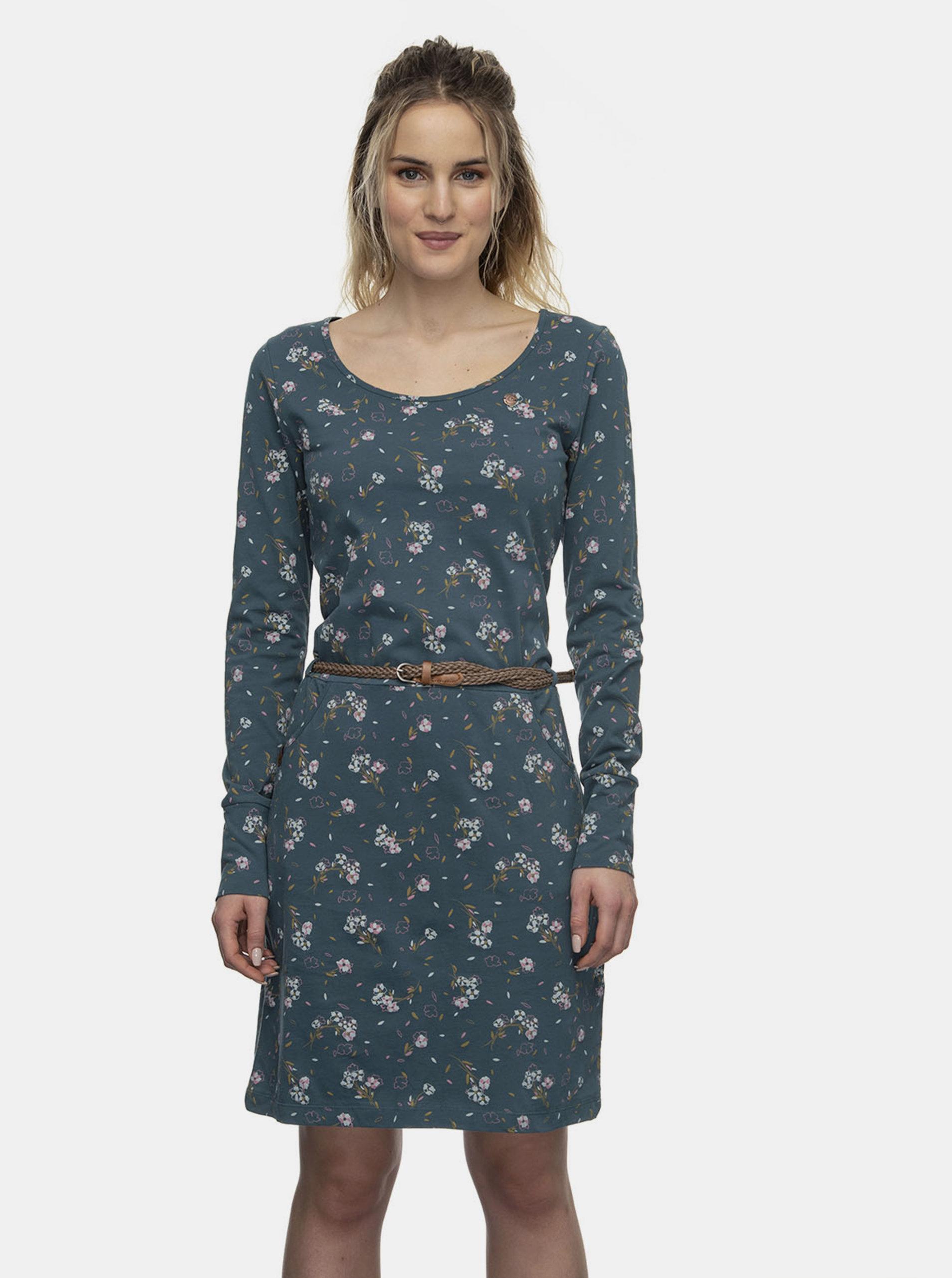 Modré květované šaty Ragwear