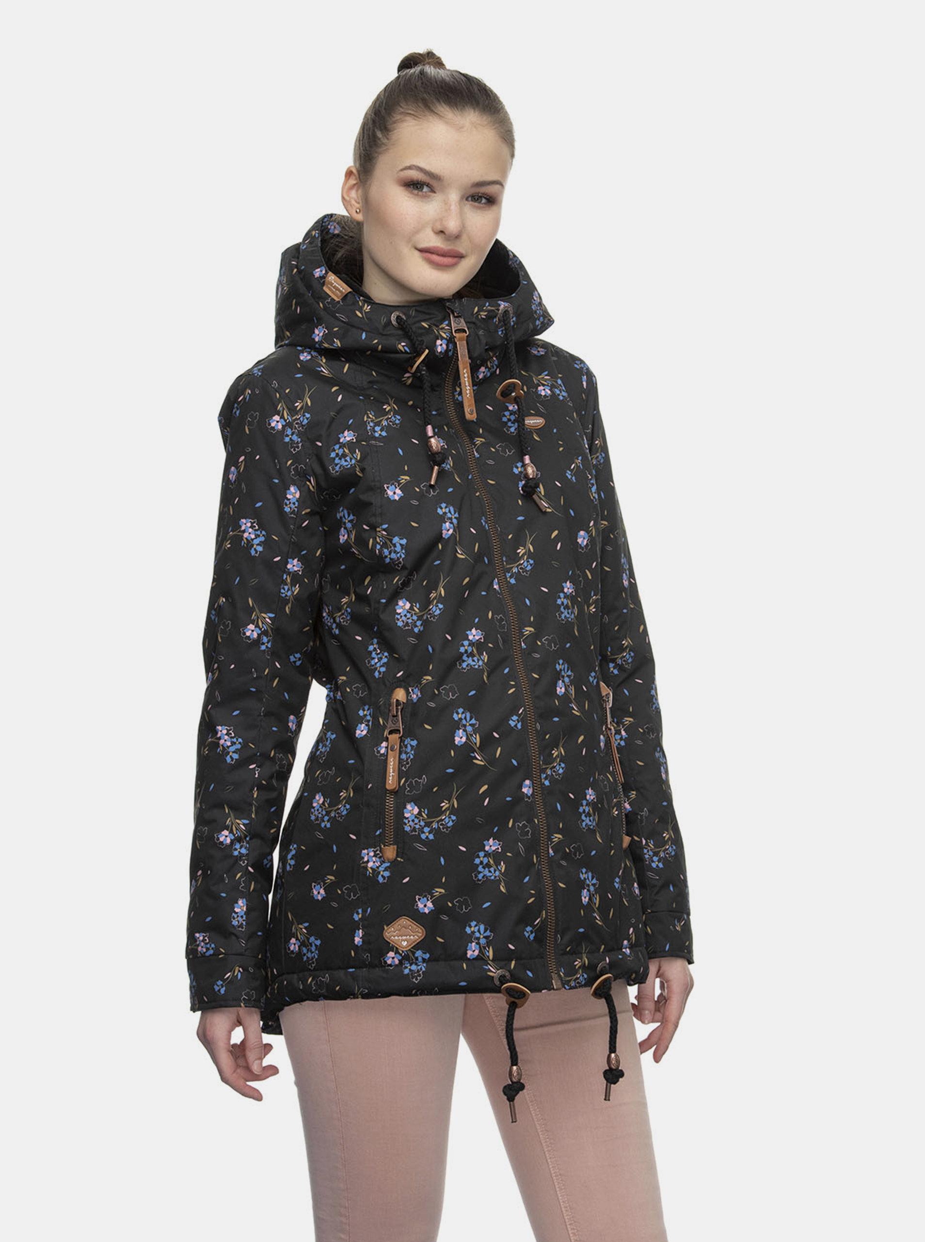 Černá dámská květovaná zimní bunda Ragwear