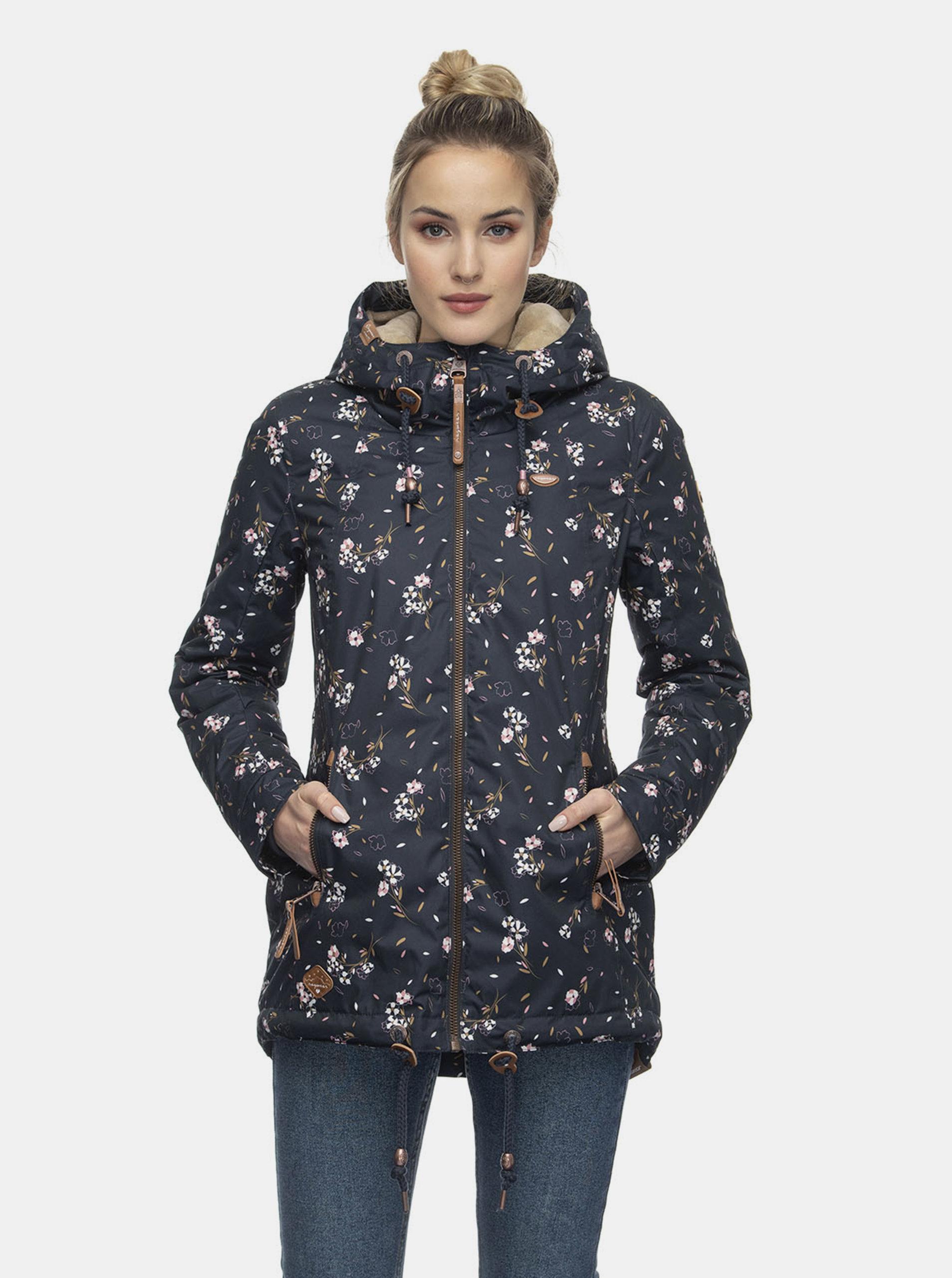 Tmavě modrá dámská květovaná zimní bunda Ragwear