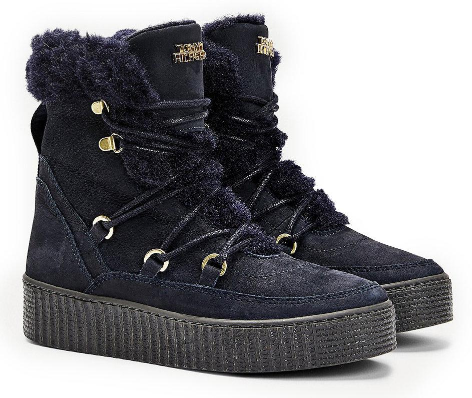 Tommy Hilfiger modré zimní boty Tommy Warm Lined Lace Up Bootie Desert Sky