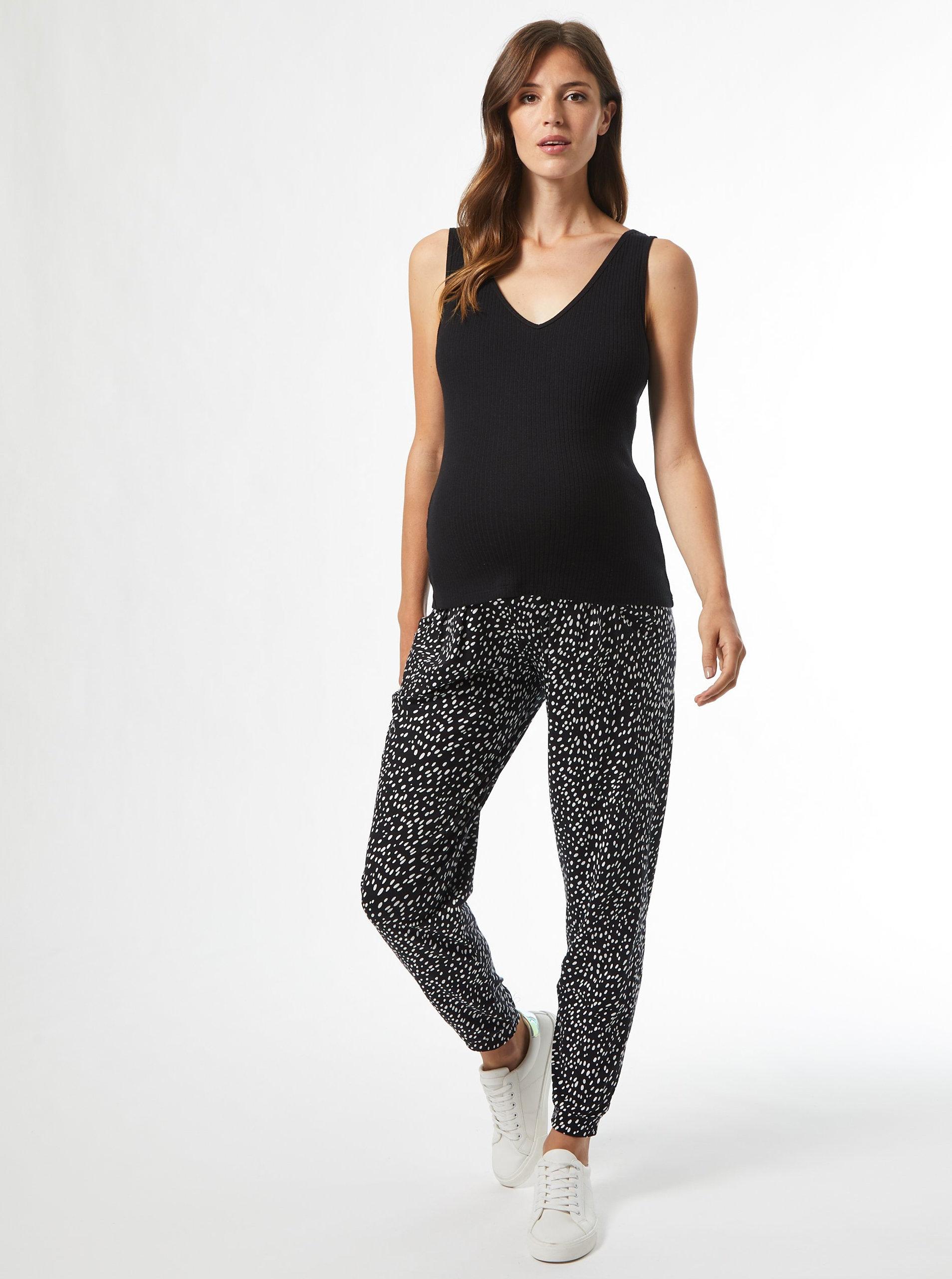 Levně Černé vzorované těhotenské kalhoty Dorothy Perkins Maternity
