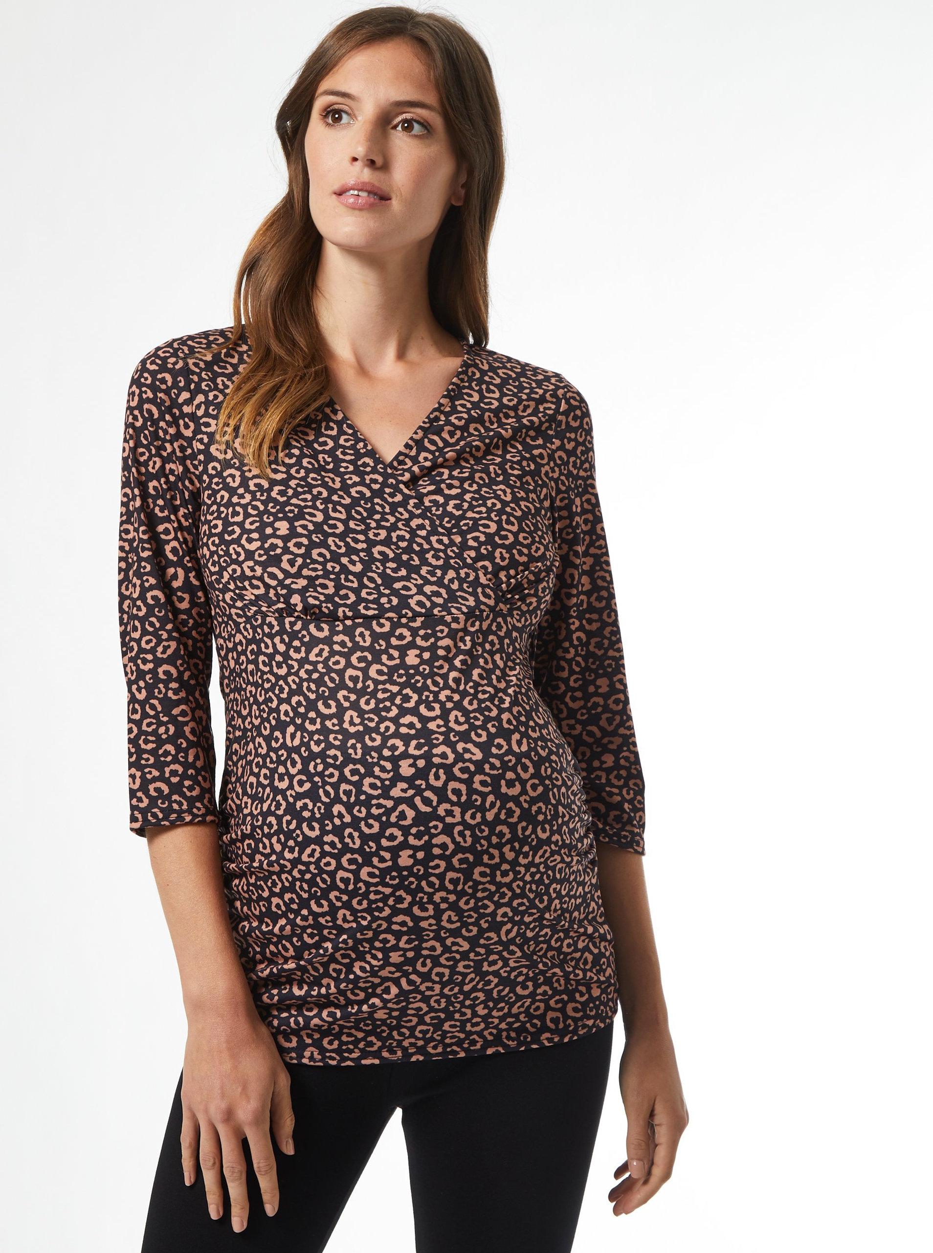 Levně Hnědé vzorované těhotenské tričko Dorothy Perkins Maternity