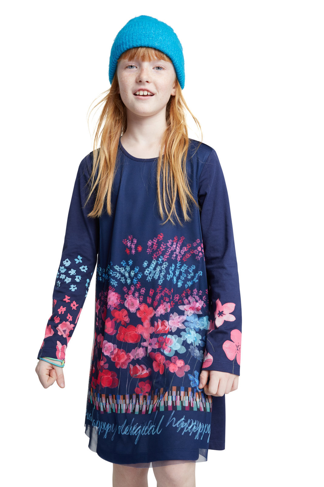 Desigual modré dívčí šaty Vest Florecillas