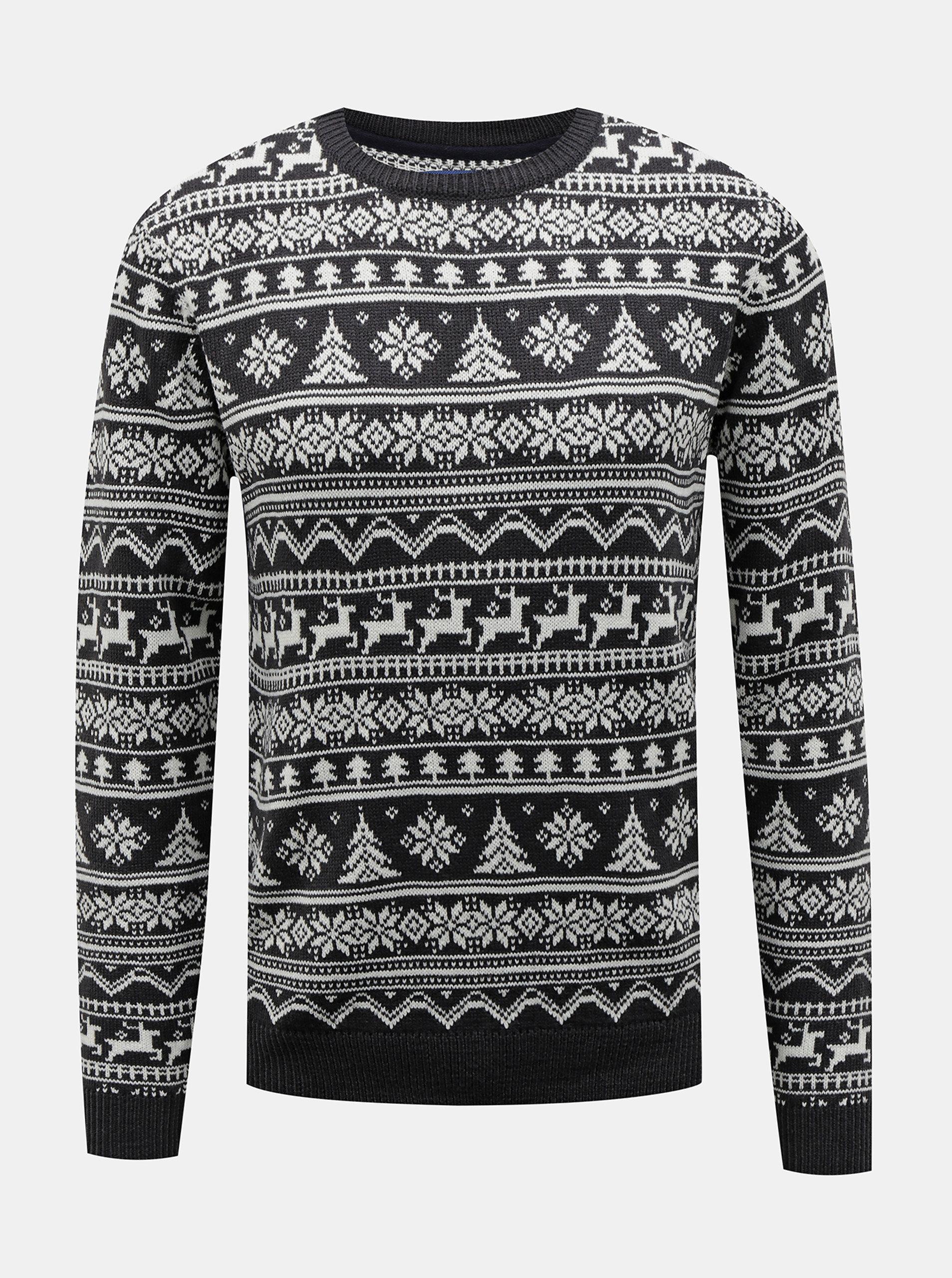 Tmavě šedý svetr s vánočním vzorem Blend