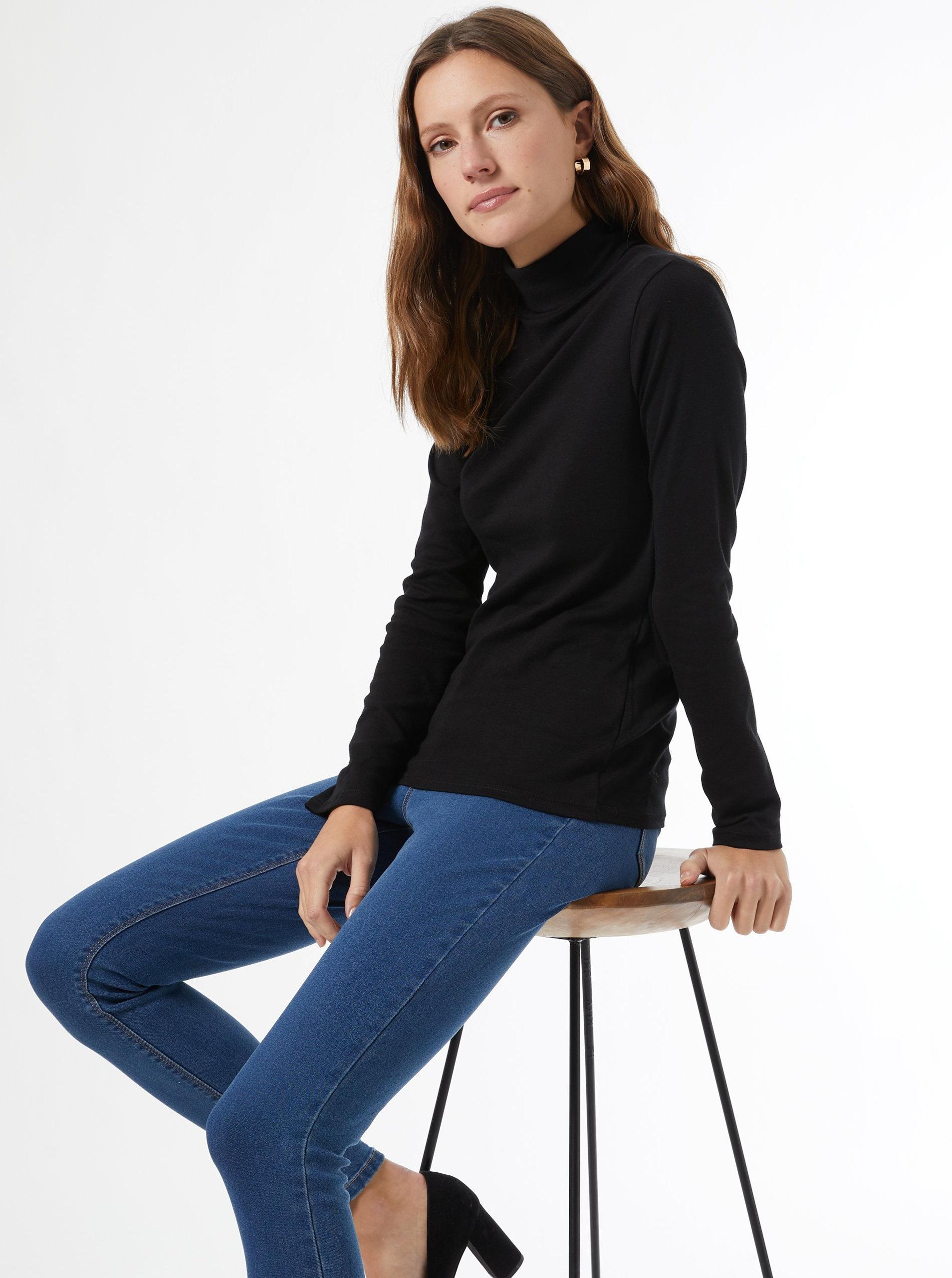 Černé tričko s rolákem Dorothy Perkins