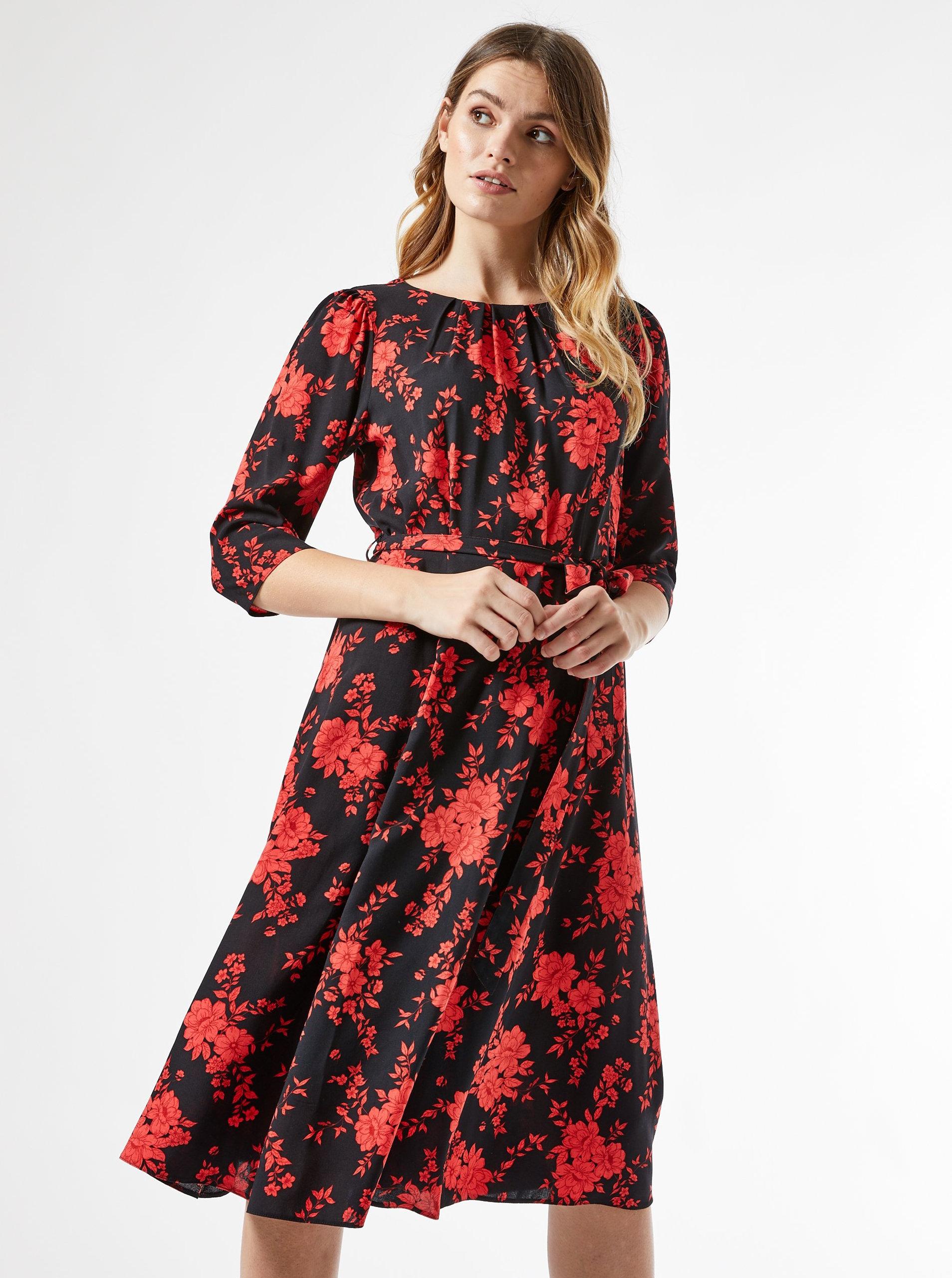 Červeno-černé květované šaty Billie & Blossom