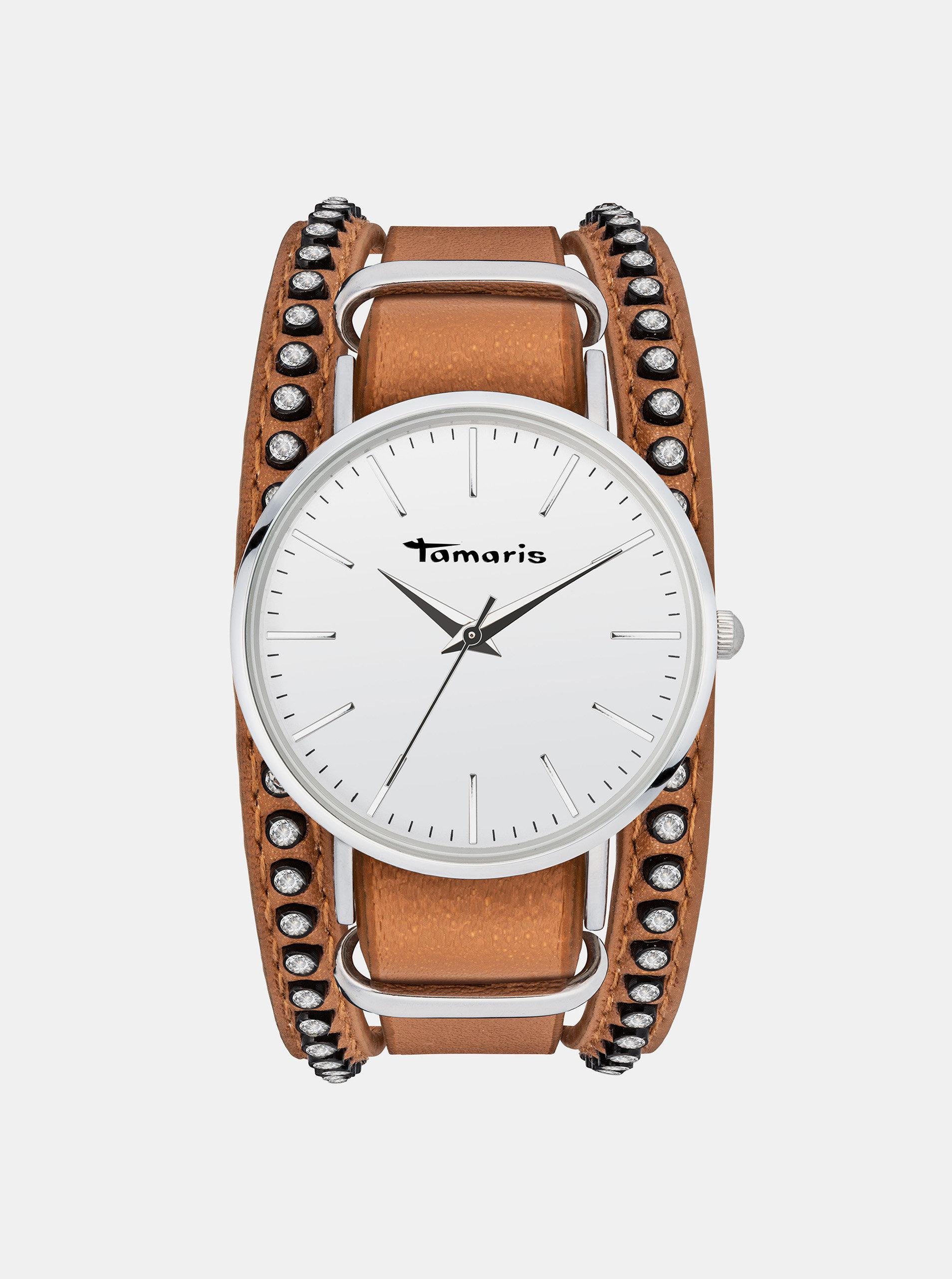 Dámské hodinky s hnědým páskem Tamaris