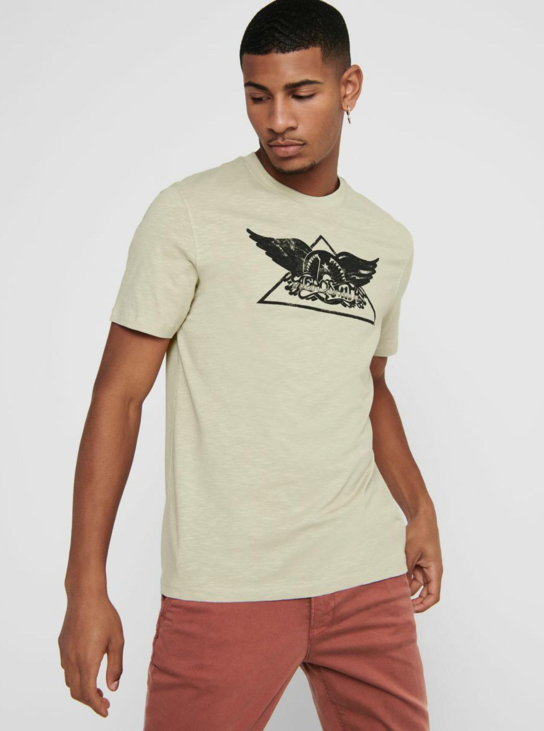 Béžové tričko ONLY & SONS Aerosmith