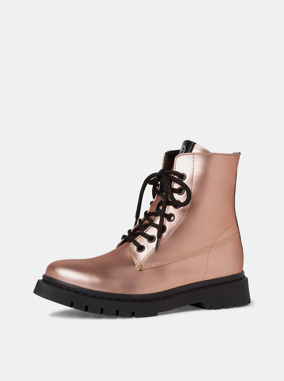 Růžové kotníkové lesklé boty Tamaris