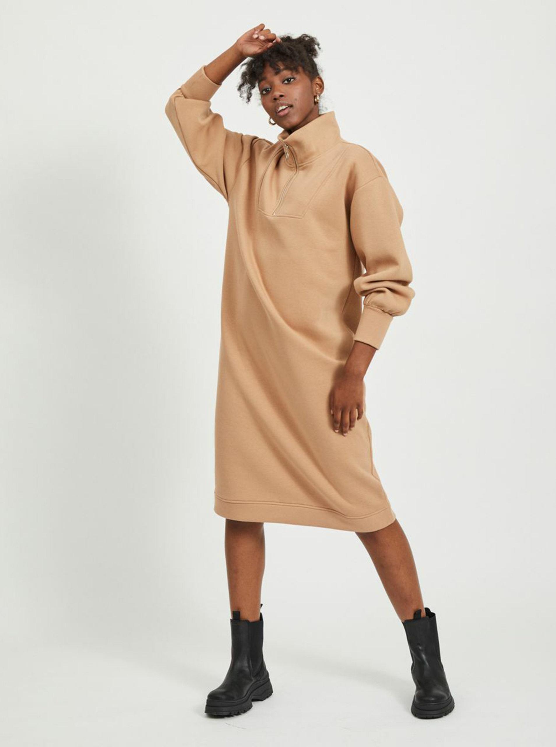 Béžové mikinové šaty .OBJECT-Agnes