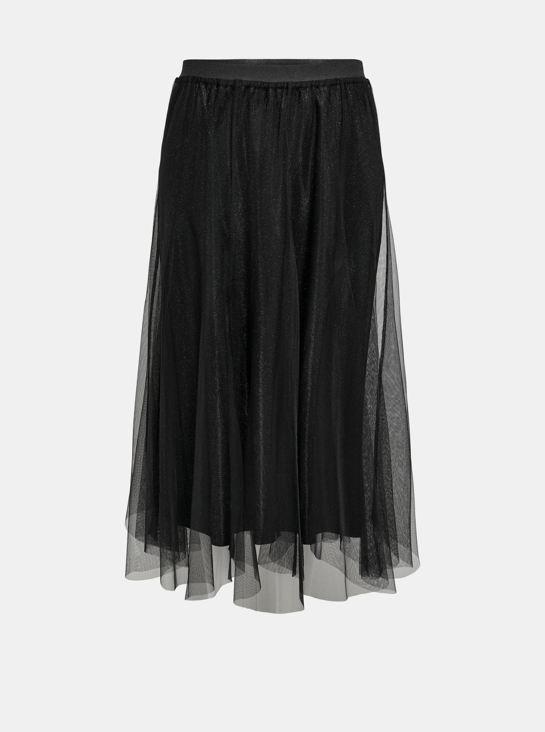 Černá tylová midi sukně Jacqueline de Yong