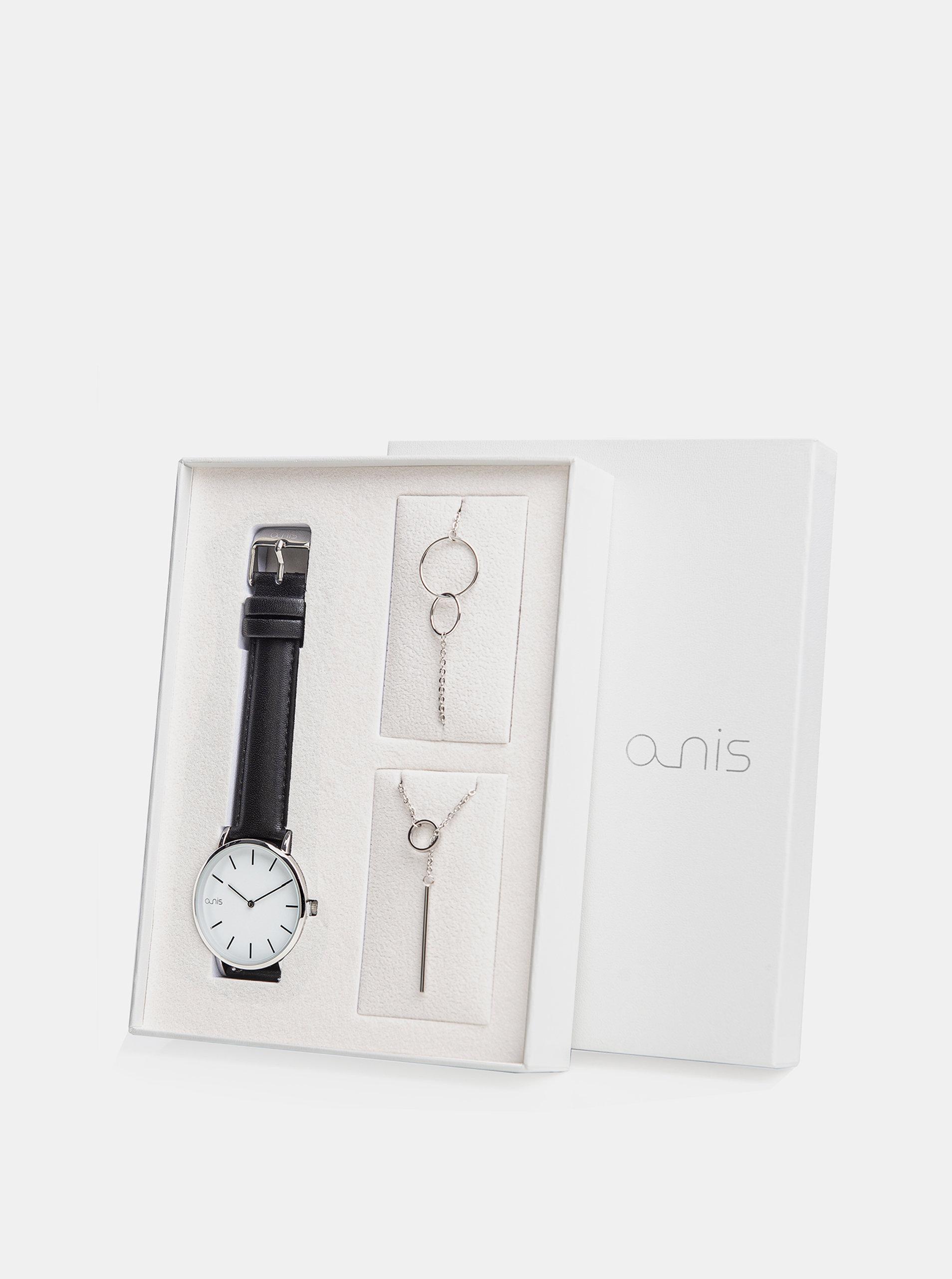 Sada dámského náramku, náhrdelníku a hodinek s černým koženým páskem a-nis