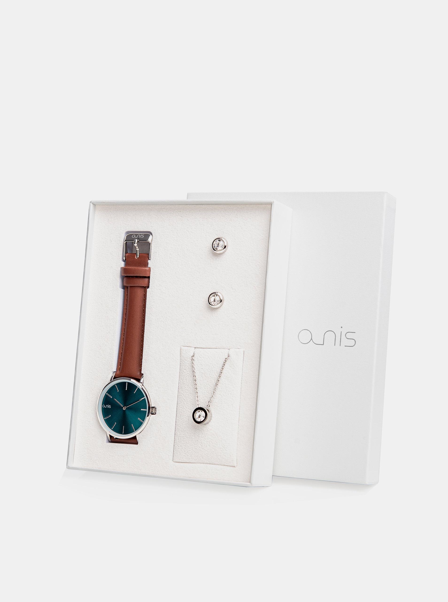 Sada dámských náušnic, řetízku a hodinek s hnědým koženým páskem a-nis