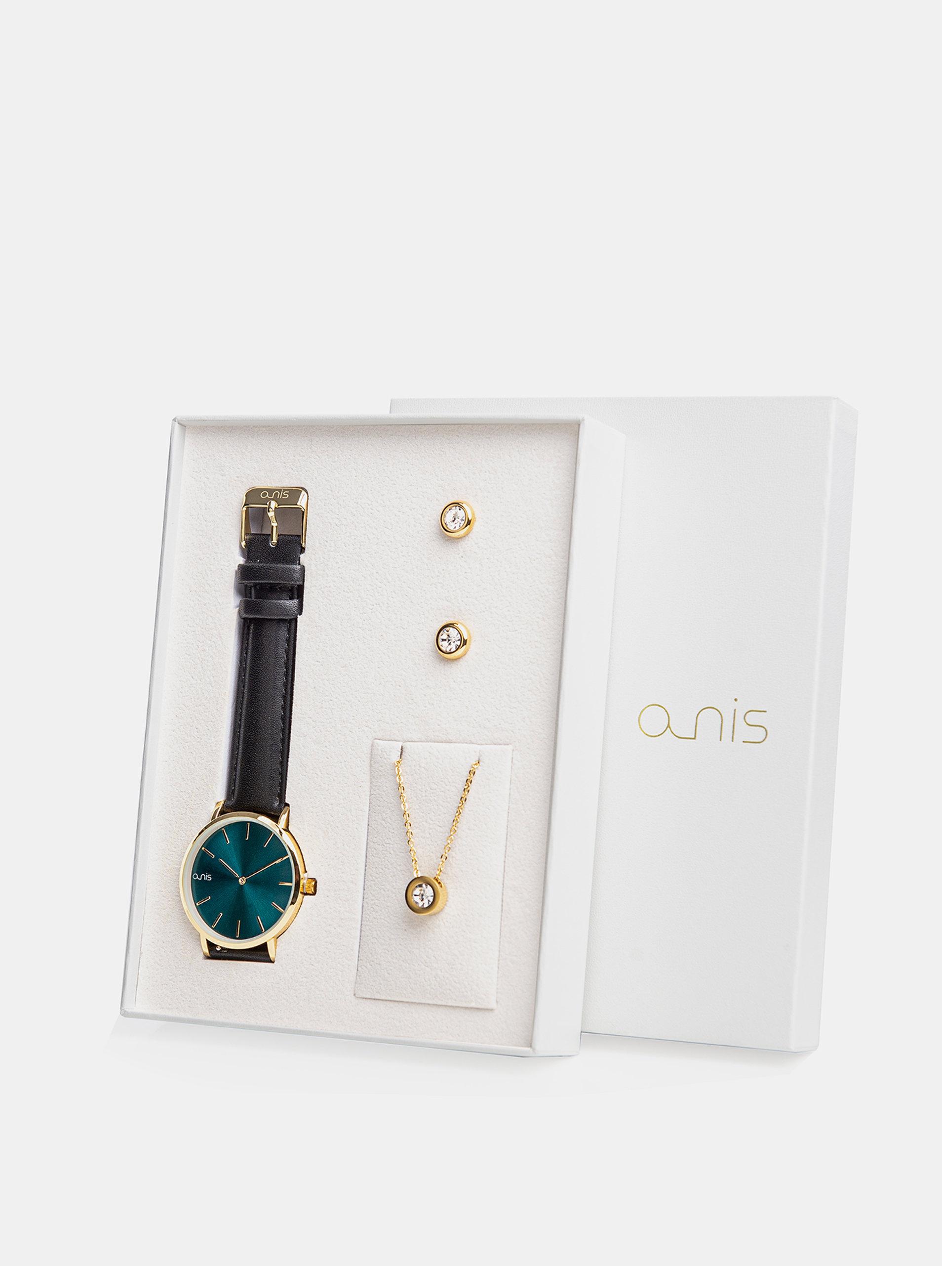 Sada dámských náušnic, řetízku a hodinek s černým koženým páskem a-nis