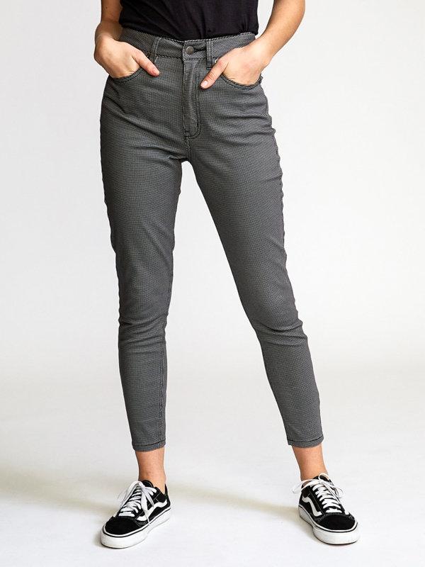 E-shop RVCA SOLAR HOUNDSTOOTH black plátěné kalhoty dámské - černá