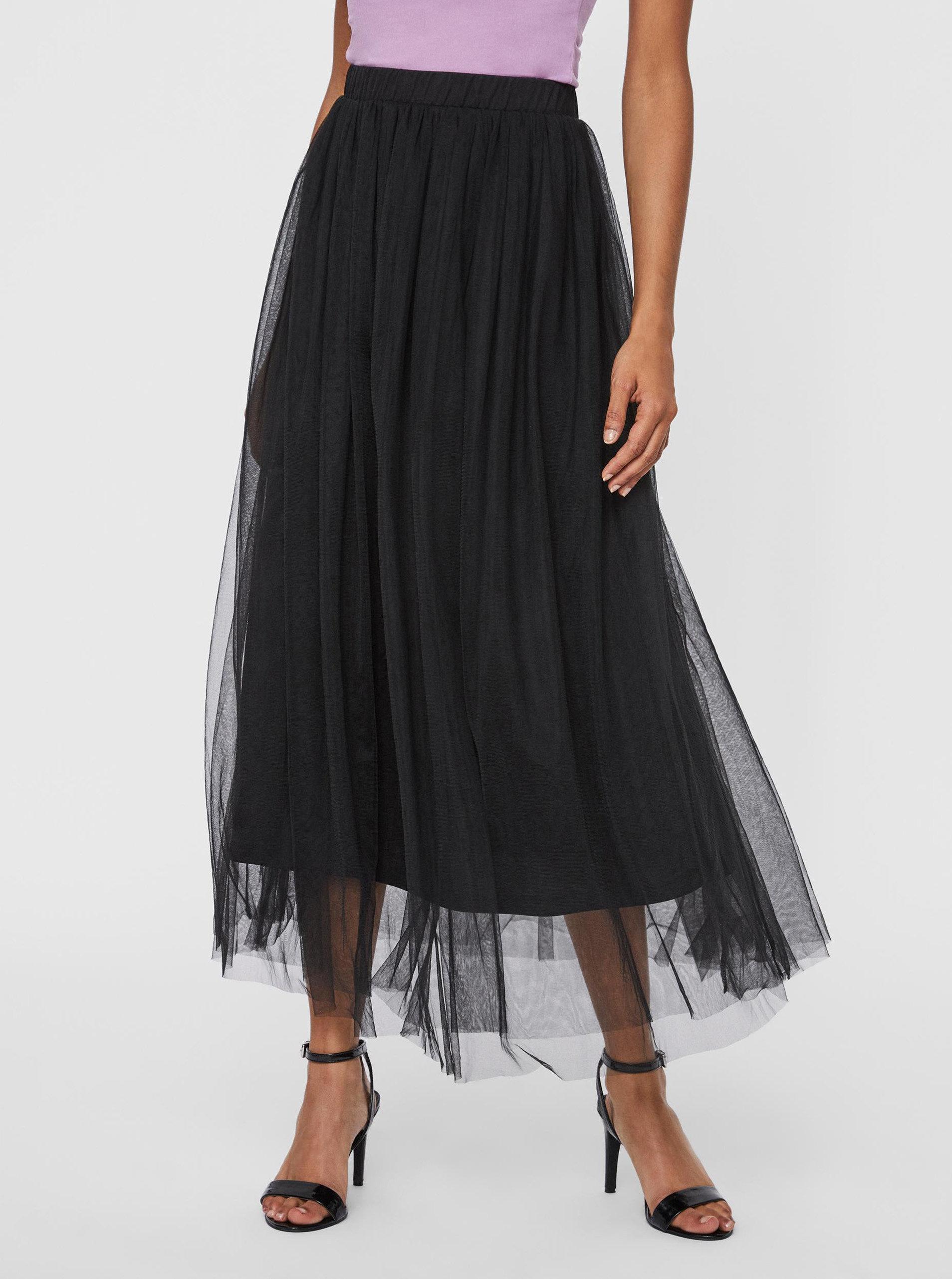 Černá tylová midi sukně VERO MODA