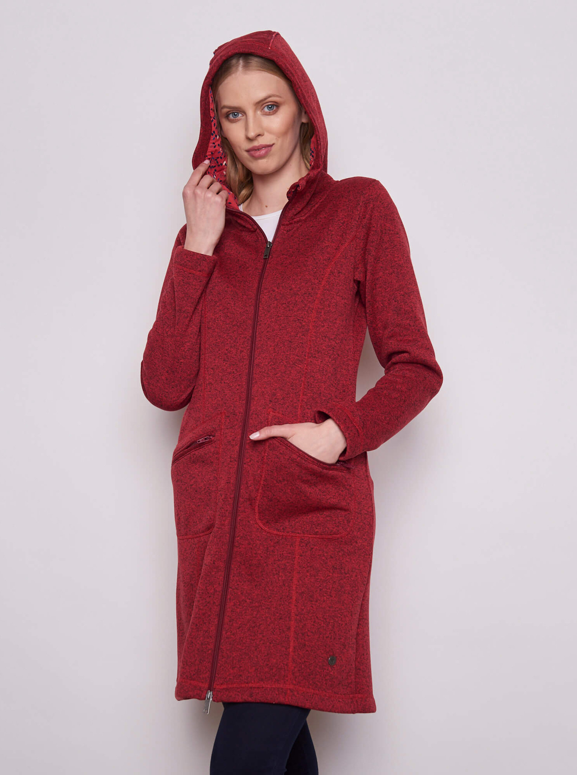 Červená dámská dlouhá mikina s kapucí Tranquillo