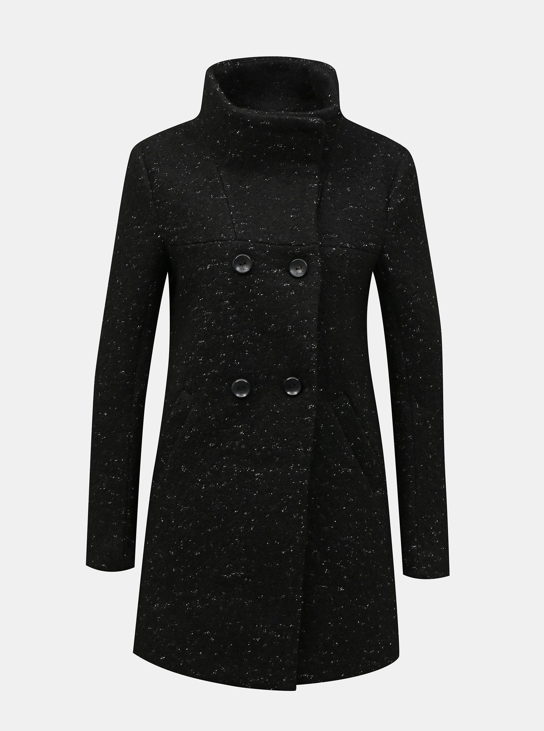 Černý zimní vlněný kabát ONLY New Sophia