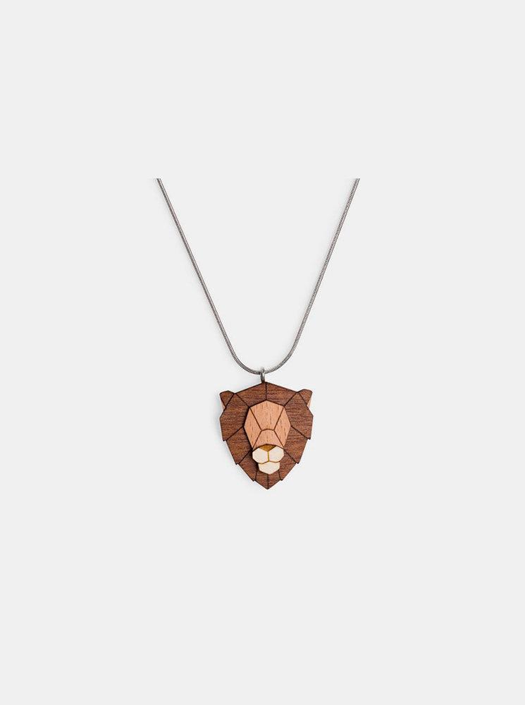 Dřevěný přívěsek BeWooden Lion Pendant na krk BeWooden