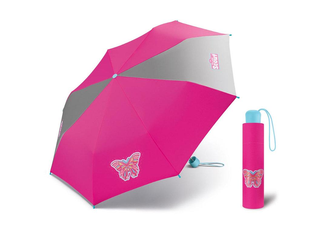 Scout BUTTERFLY dětský skládací deštník s motýlem - Růžová
