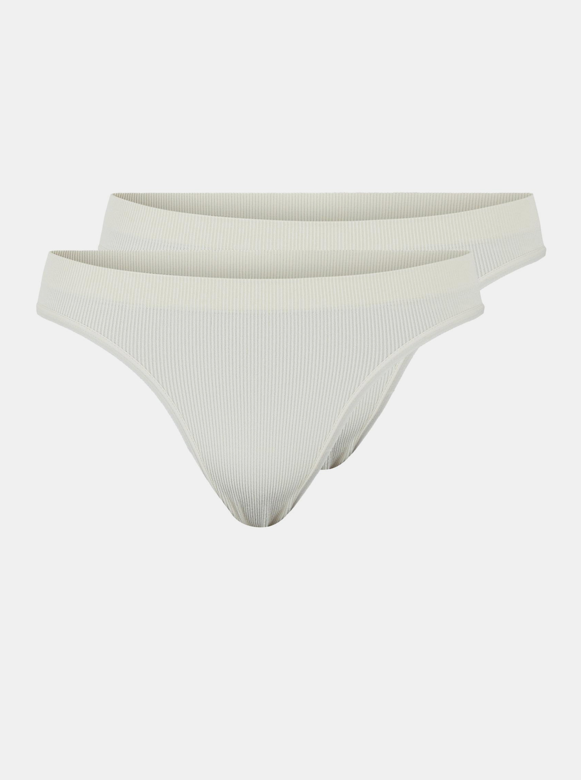 Sada dvou bílých kalhotek Pieces Symmi