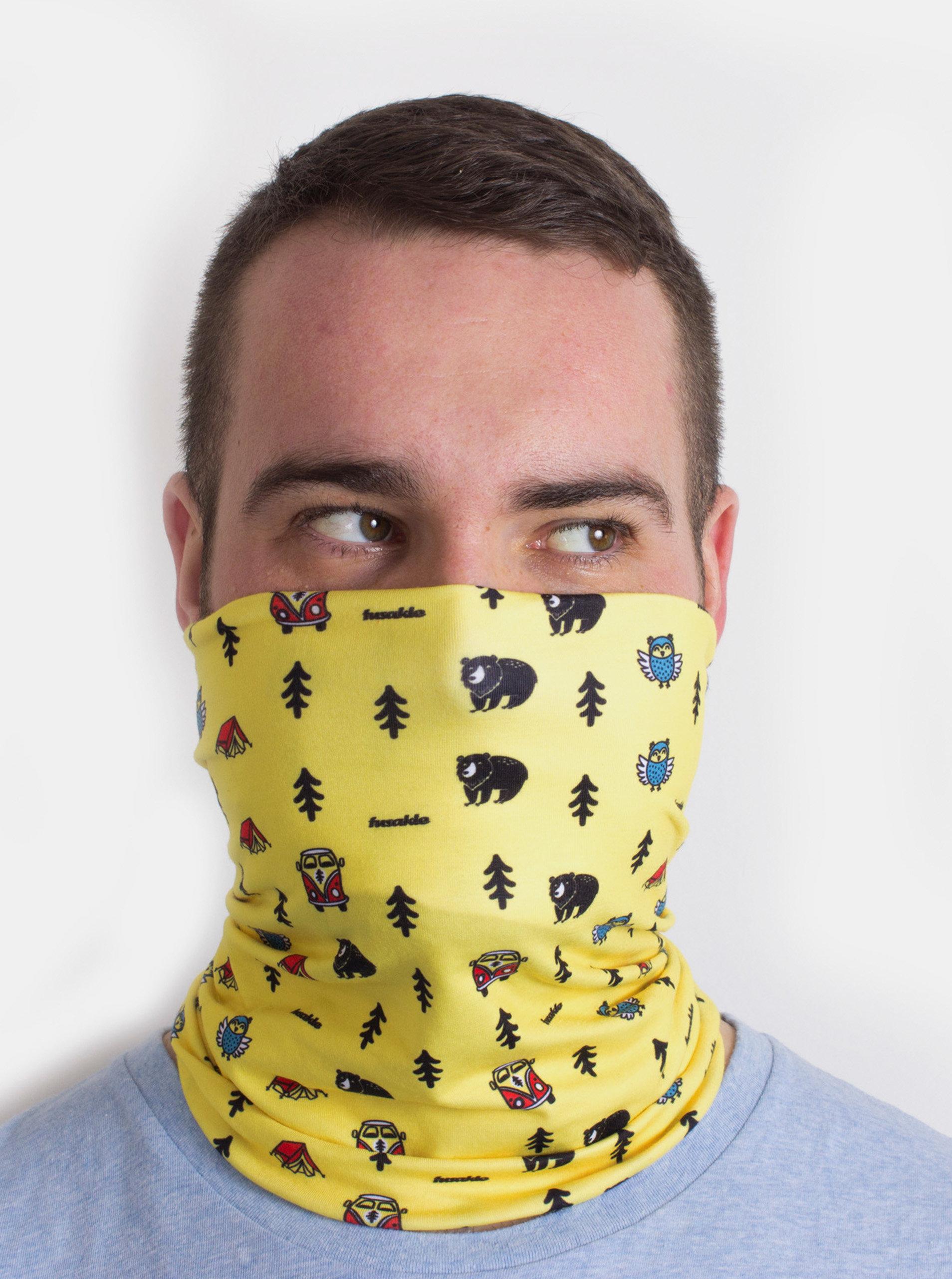 Žlutý vzorovaný šátek 3v1 Fusakle