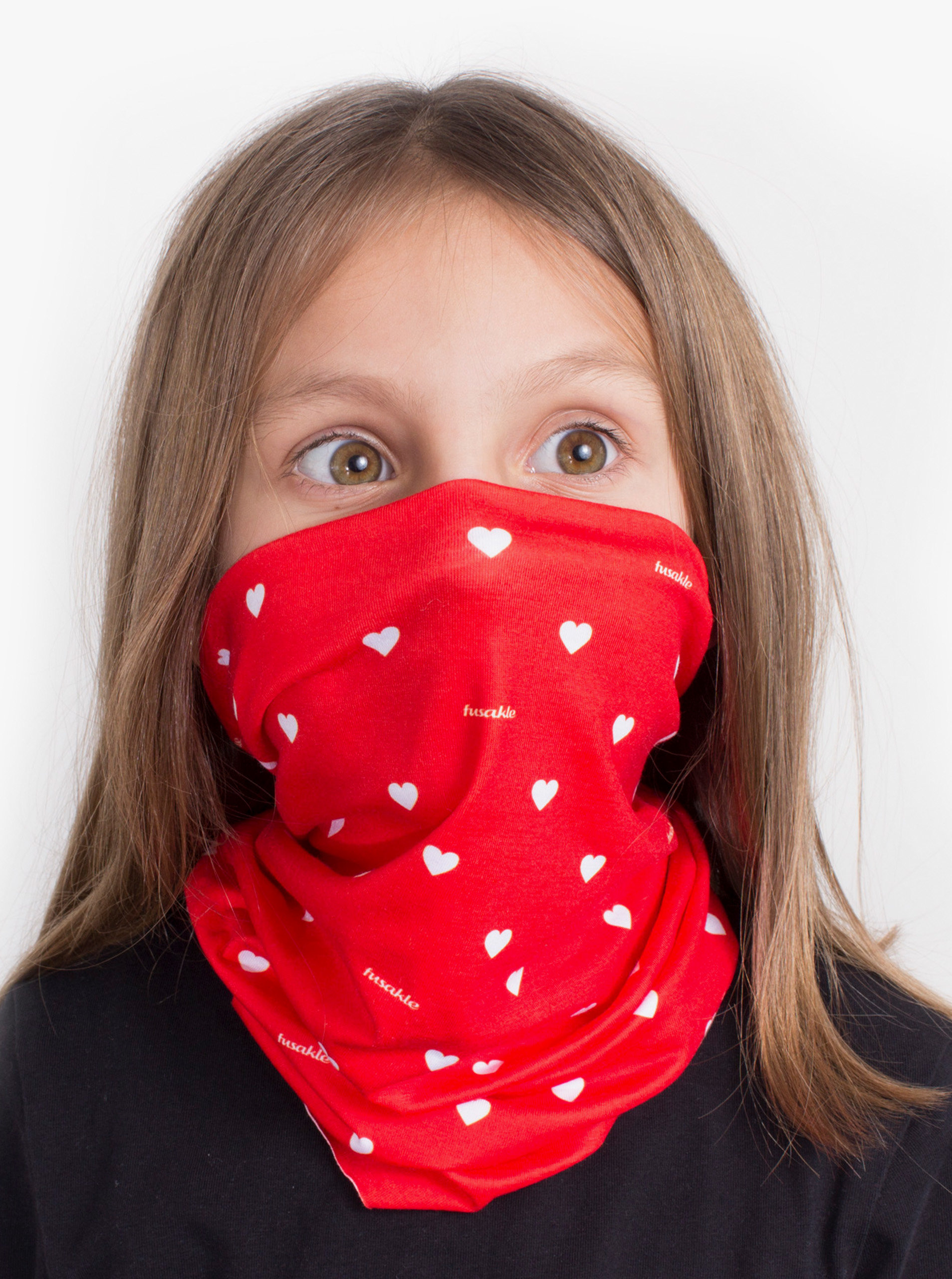 Červený dětský vzorovaný šátek 3v1 Fusakle