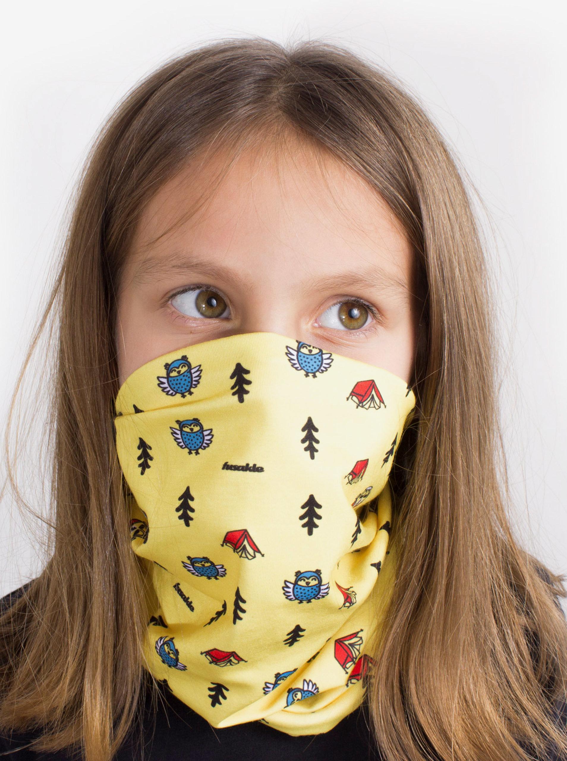 Žlutý dětský vzorovaný šátek 3v1 Fusakle