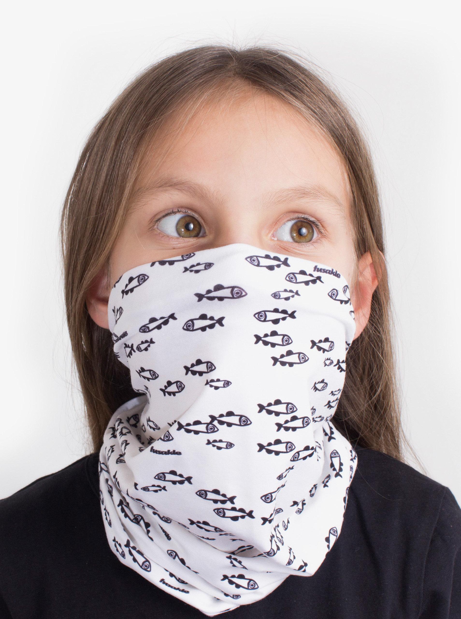 Bílý dětský vzorovaný šátek 3v1 Fusakle