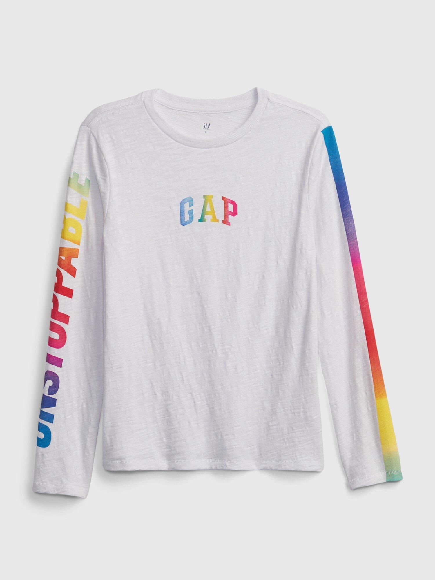 Bílé klučičí dětské tričko GAP Logo ls tee