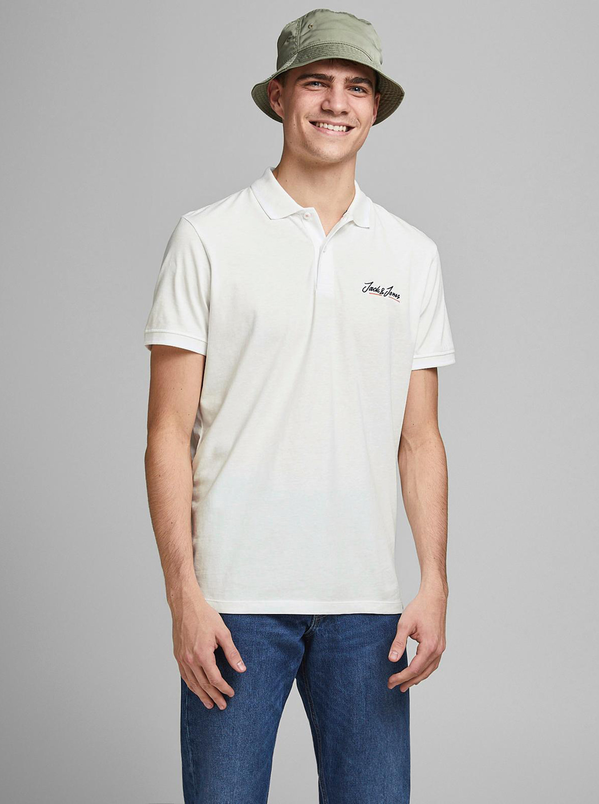 Bílé polo tričko Jack & Jones Tons