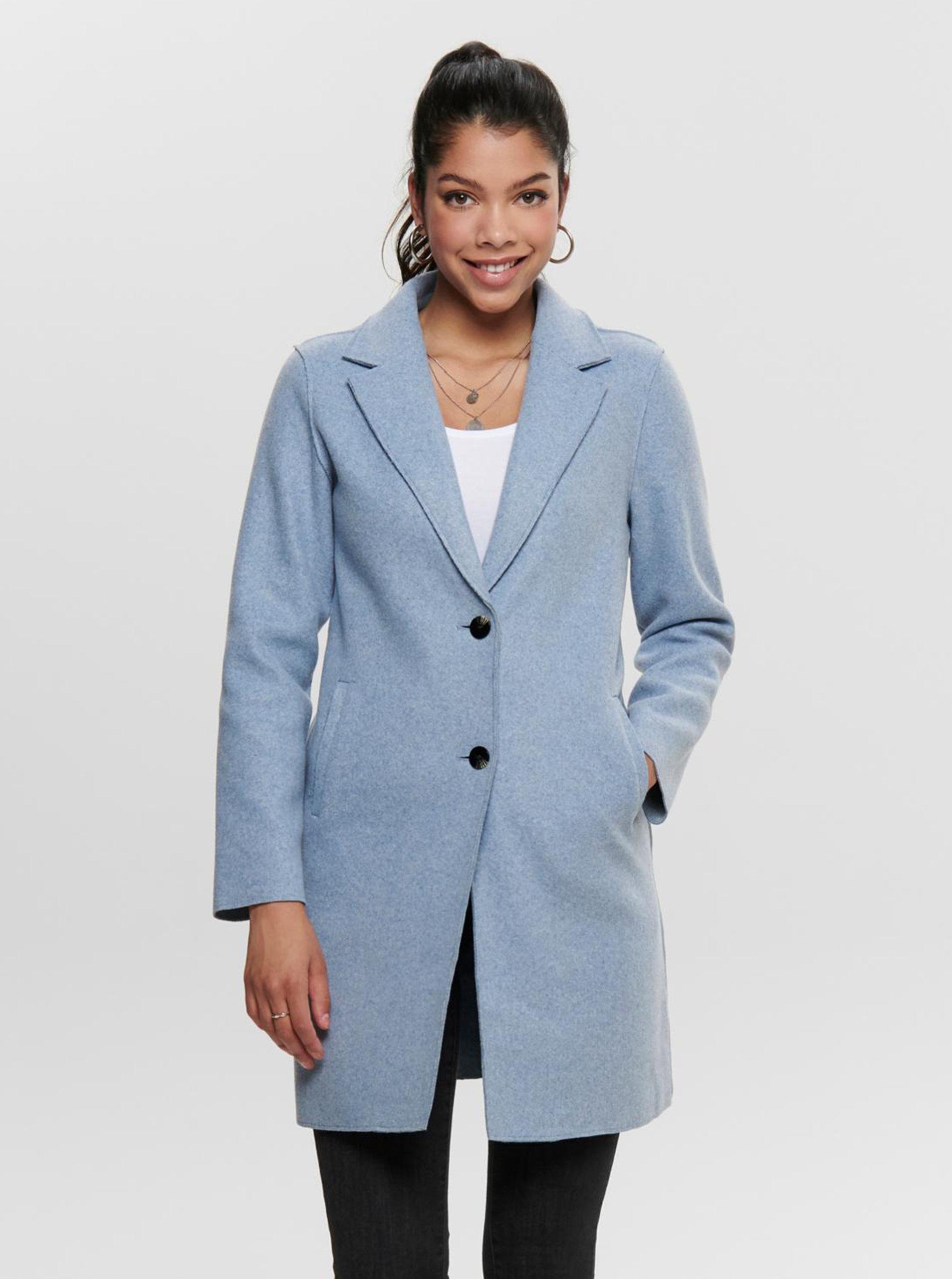 Světle modrý kabát ONLY Carrie