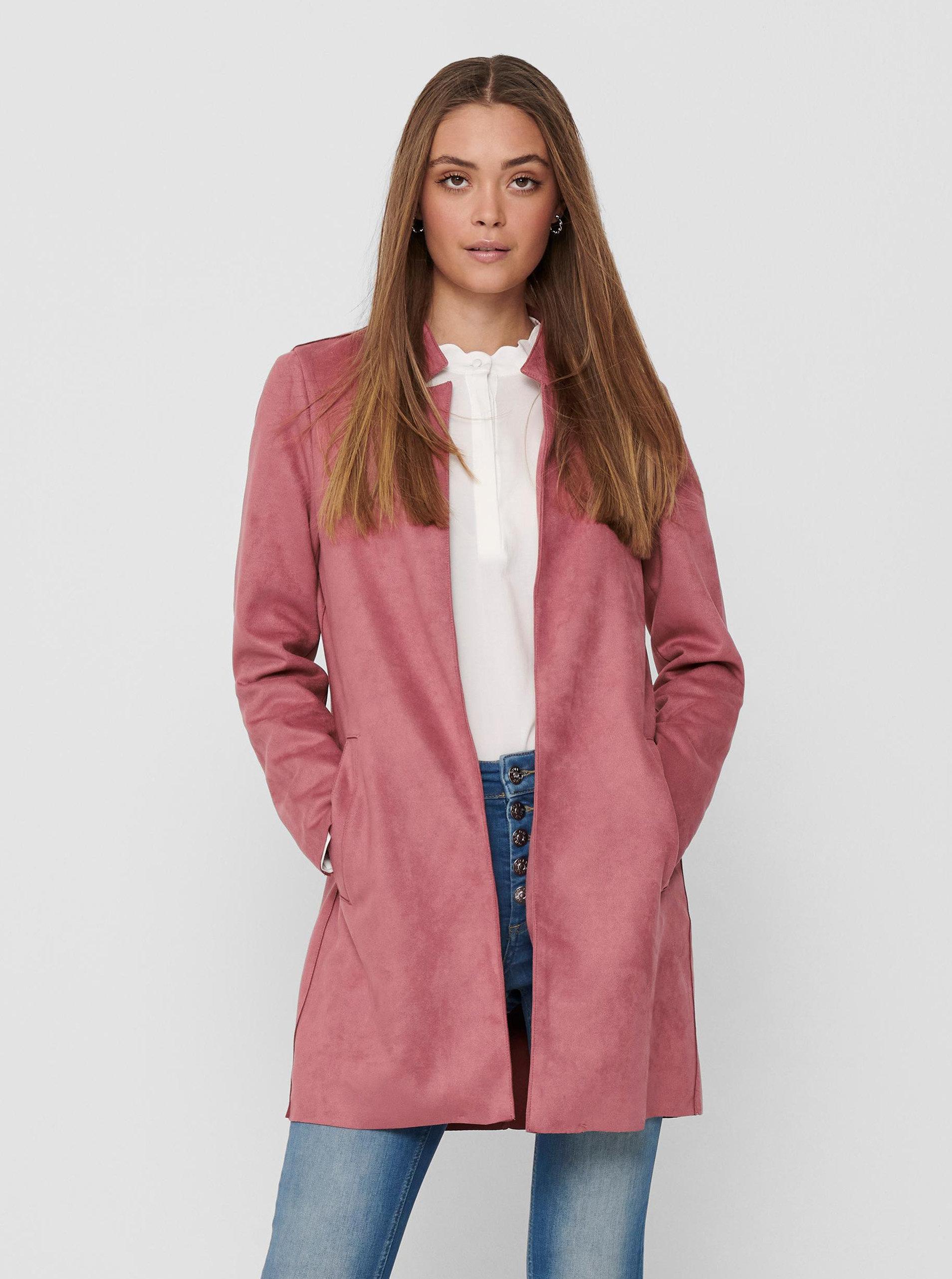 Růžový lehký kabát v semišové úpravě ONLY Soho