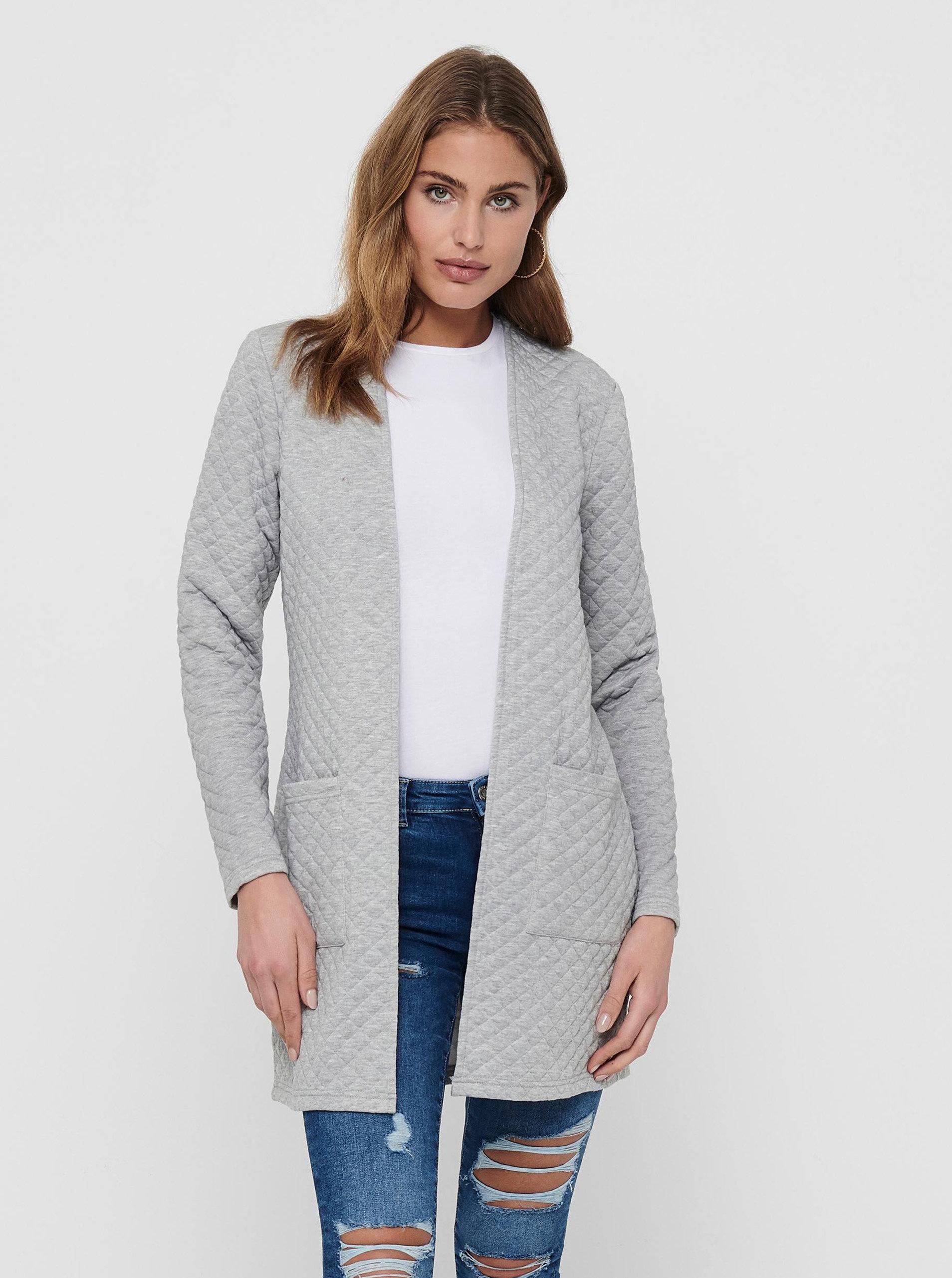 Světle šedý lehký kabát Jacqueline de Yong Napa