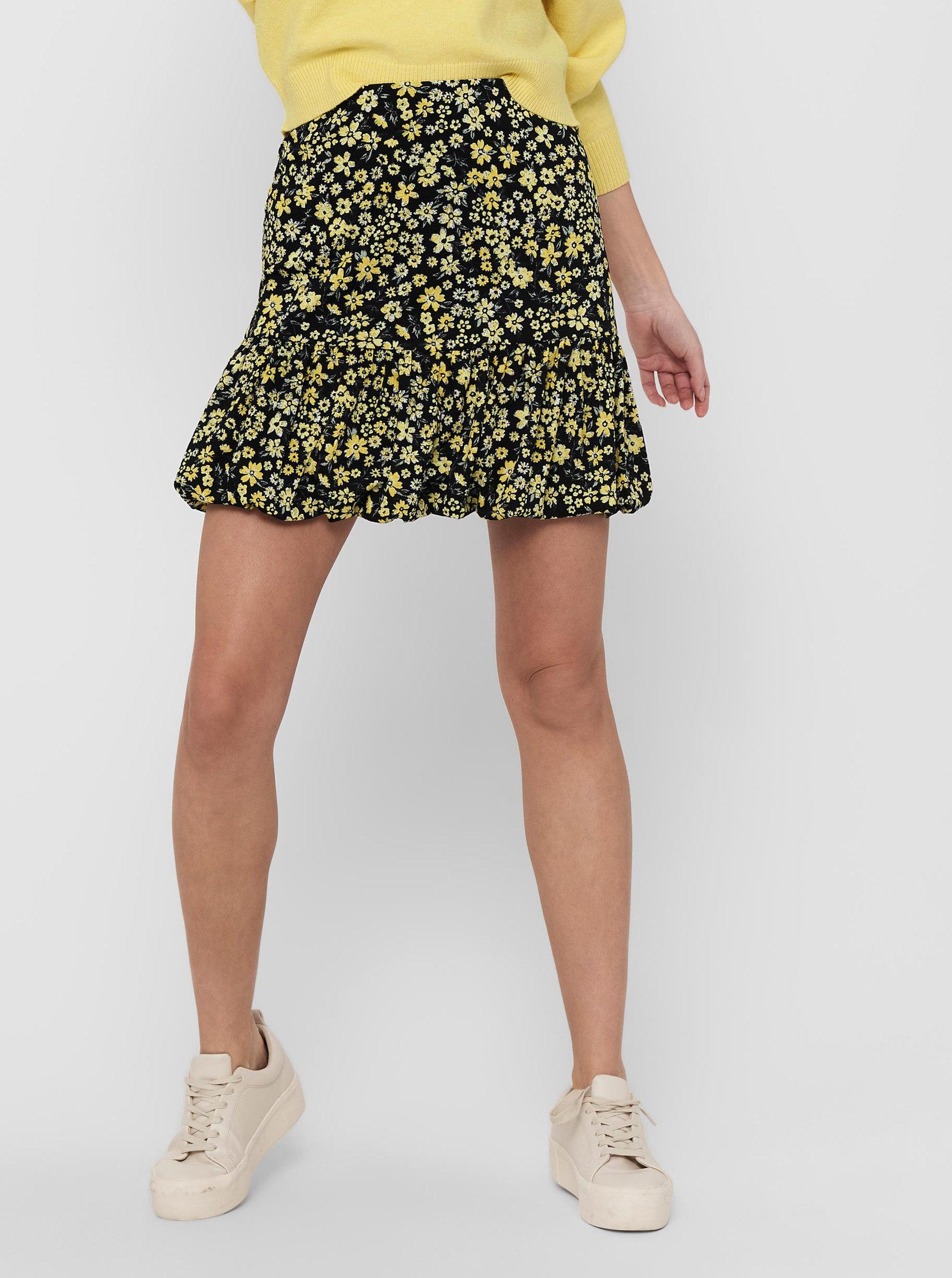 Žluto-černá květovaná sukně ONLY Pella