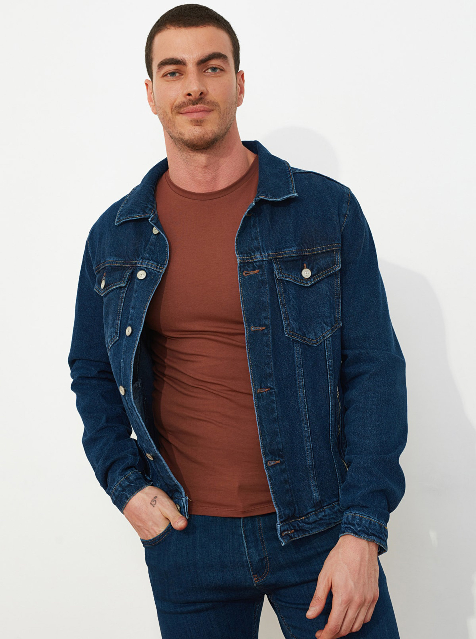 Tmavě modrá pánská džínová bunda Trendyol