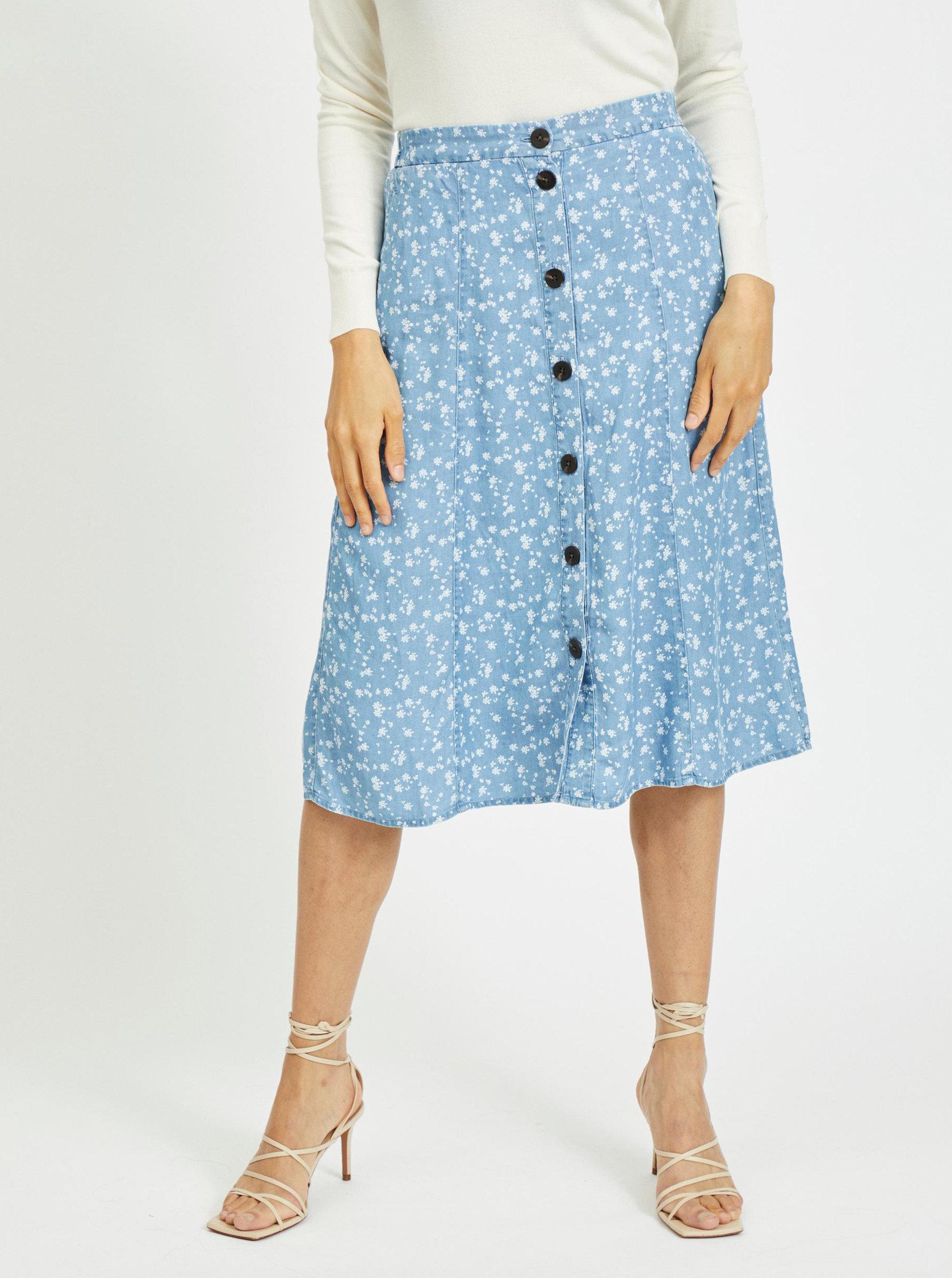 Modrá květovaná sukně s knoflíky VILA Flikka