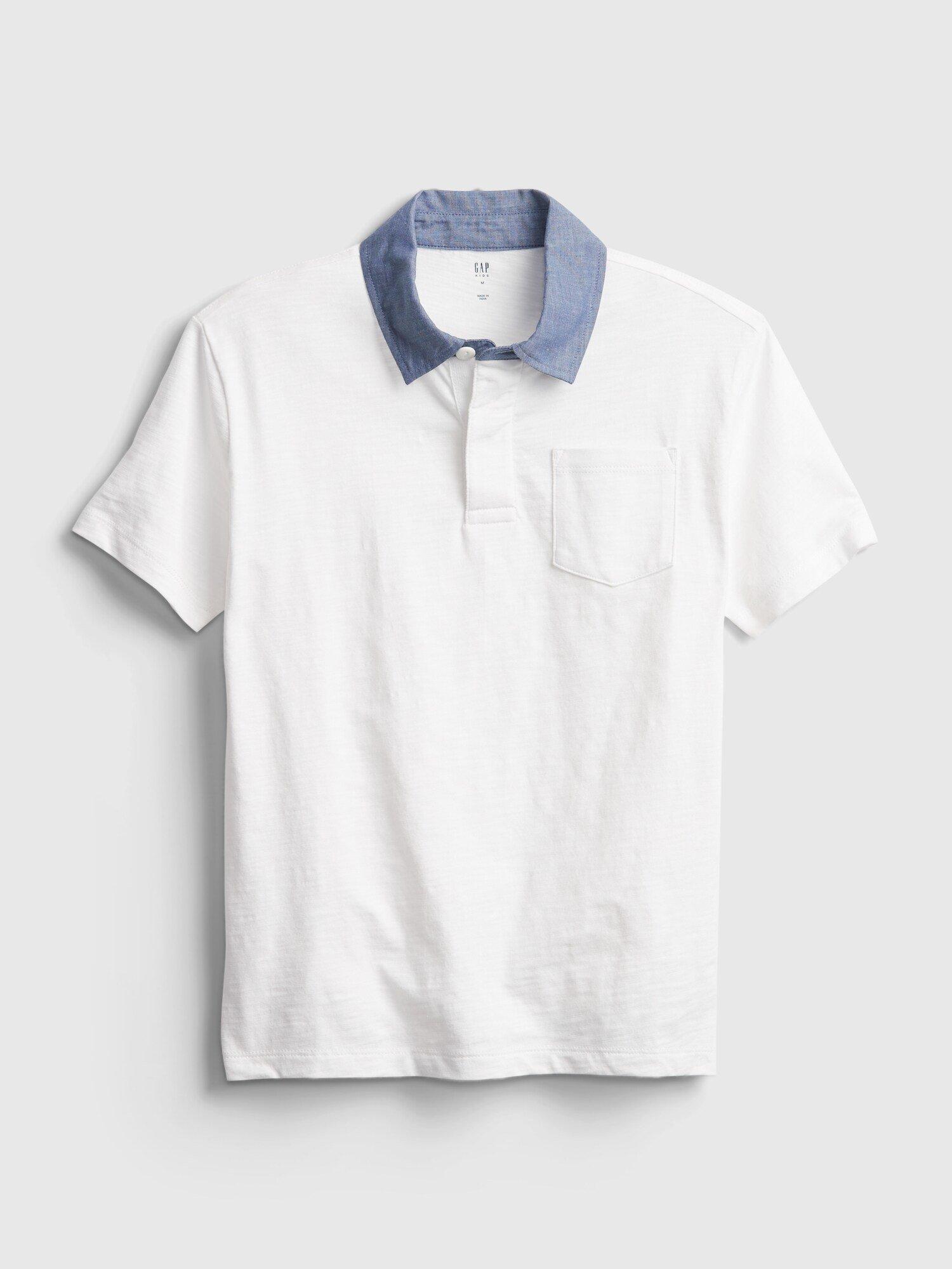 Bílé klučičí dětské polo tričko chambray