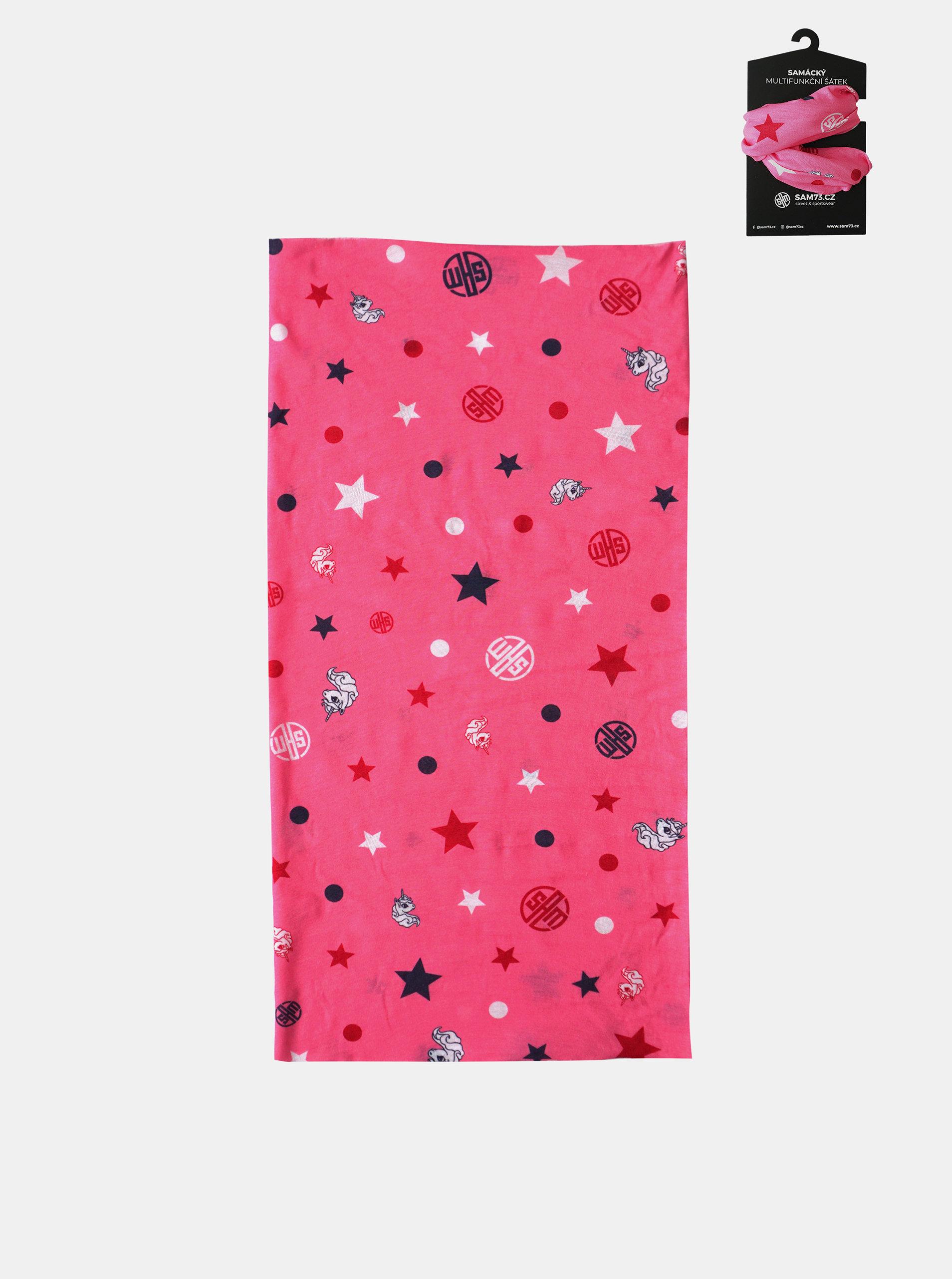 Růžový holčičí vzorovaný multifunkční šátek SAM 73