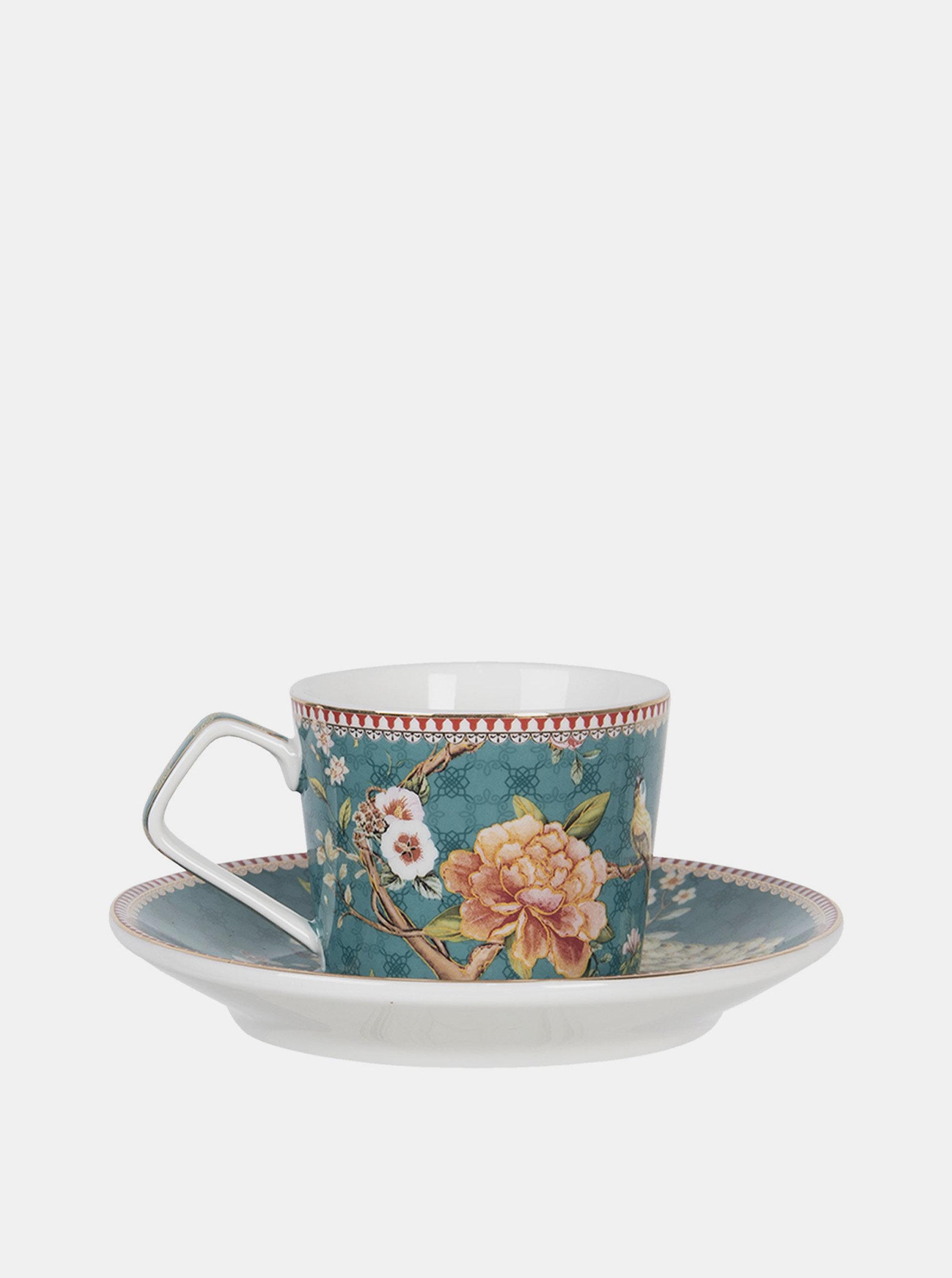 Modrý květovaný hrnek s talířkem Clayre & Eef 200 ml