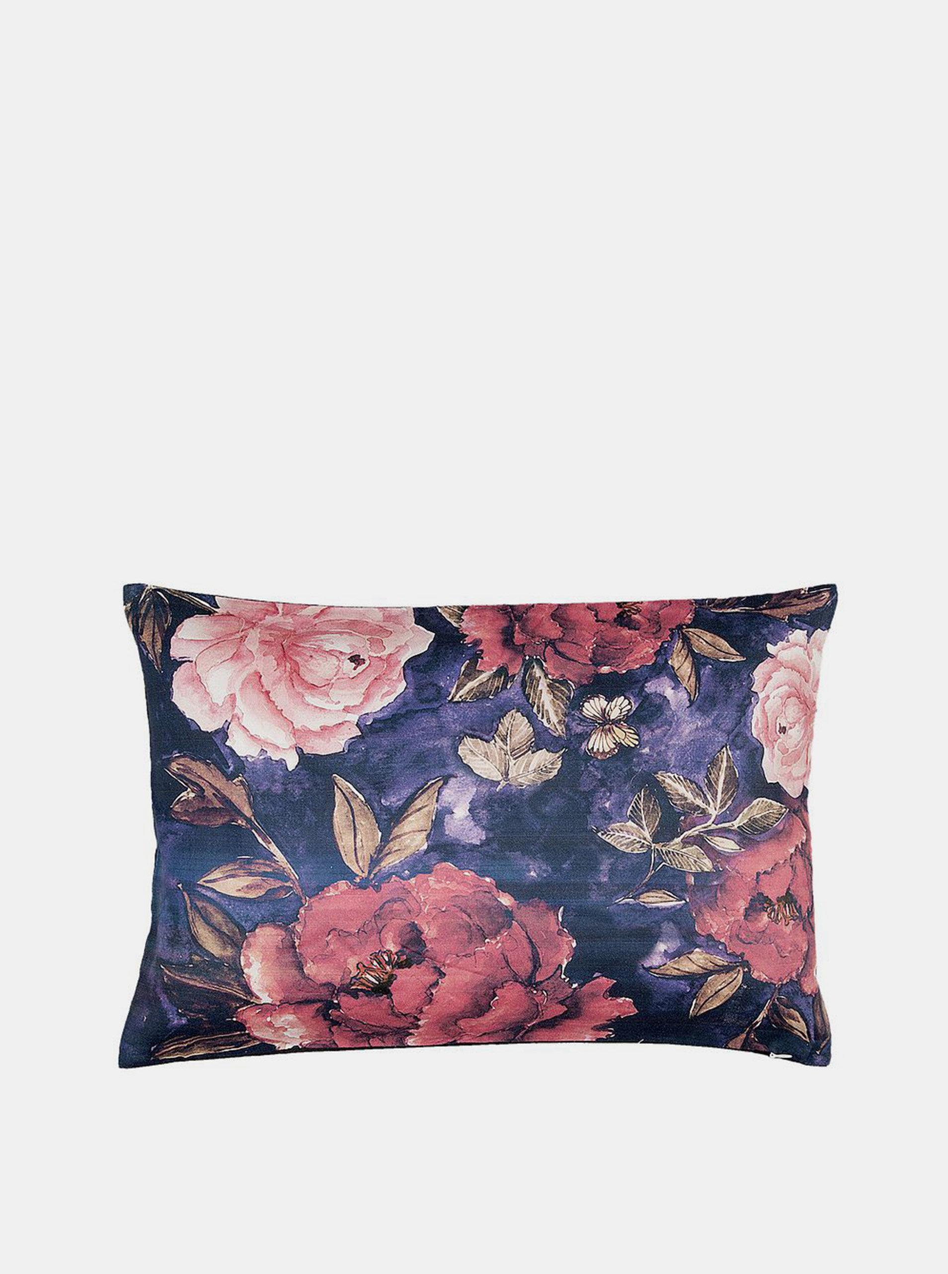 Růžovo-modrý květovaný polštář Clayre & Eef 35 x 50 cm
