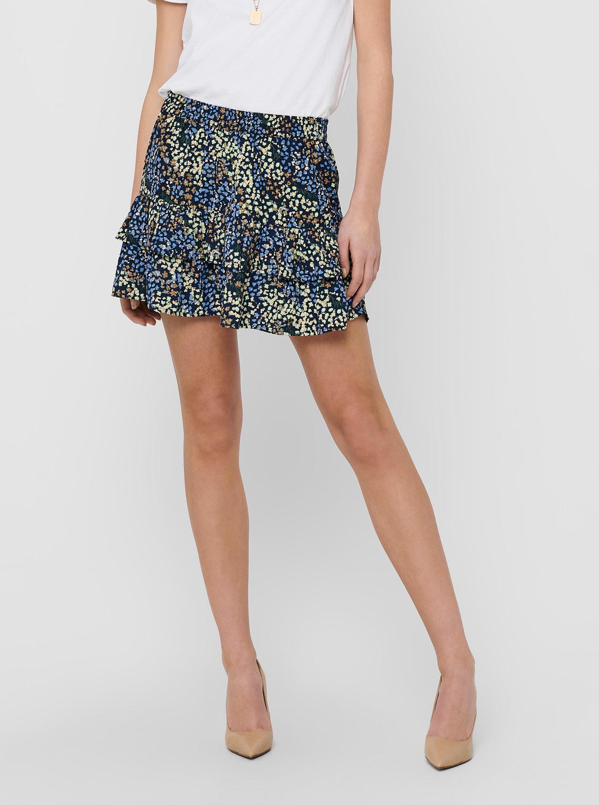 Modrá květovaná sukně Jacqueline de Yong Mia
