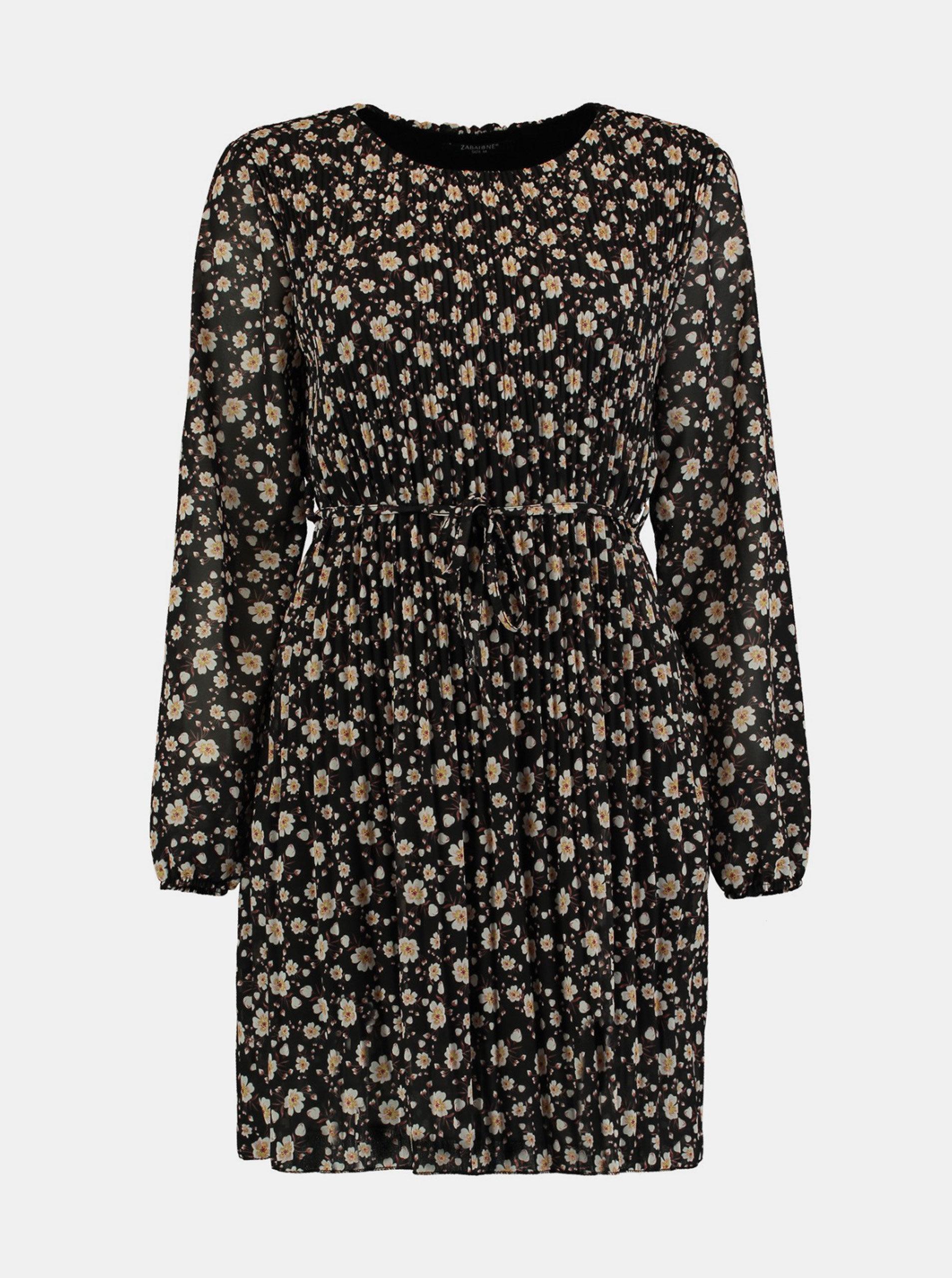 Černé květované plisované šaty Zabaione